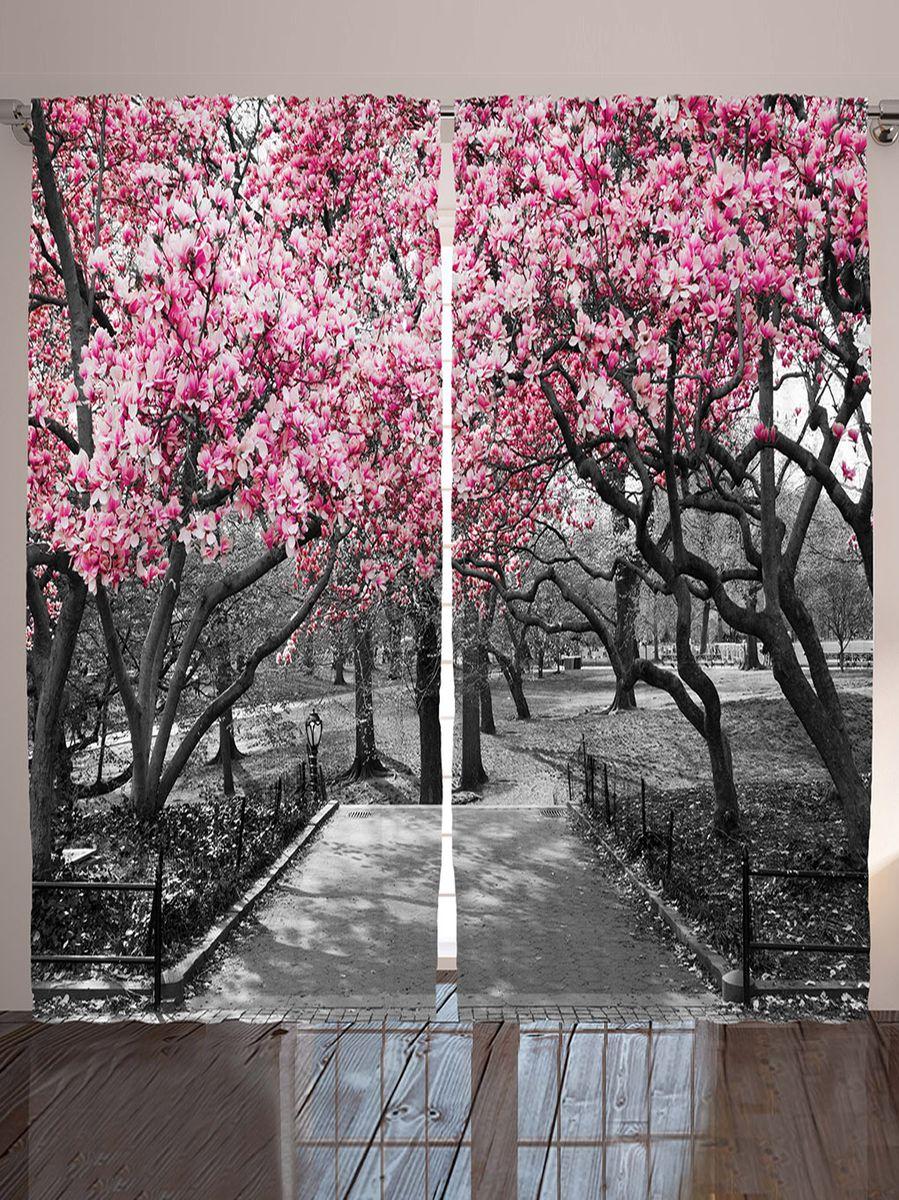 Комплект фотоштор Magic Lady Розовое соцветие весной, на ленте, высота 265 см