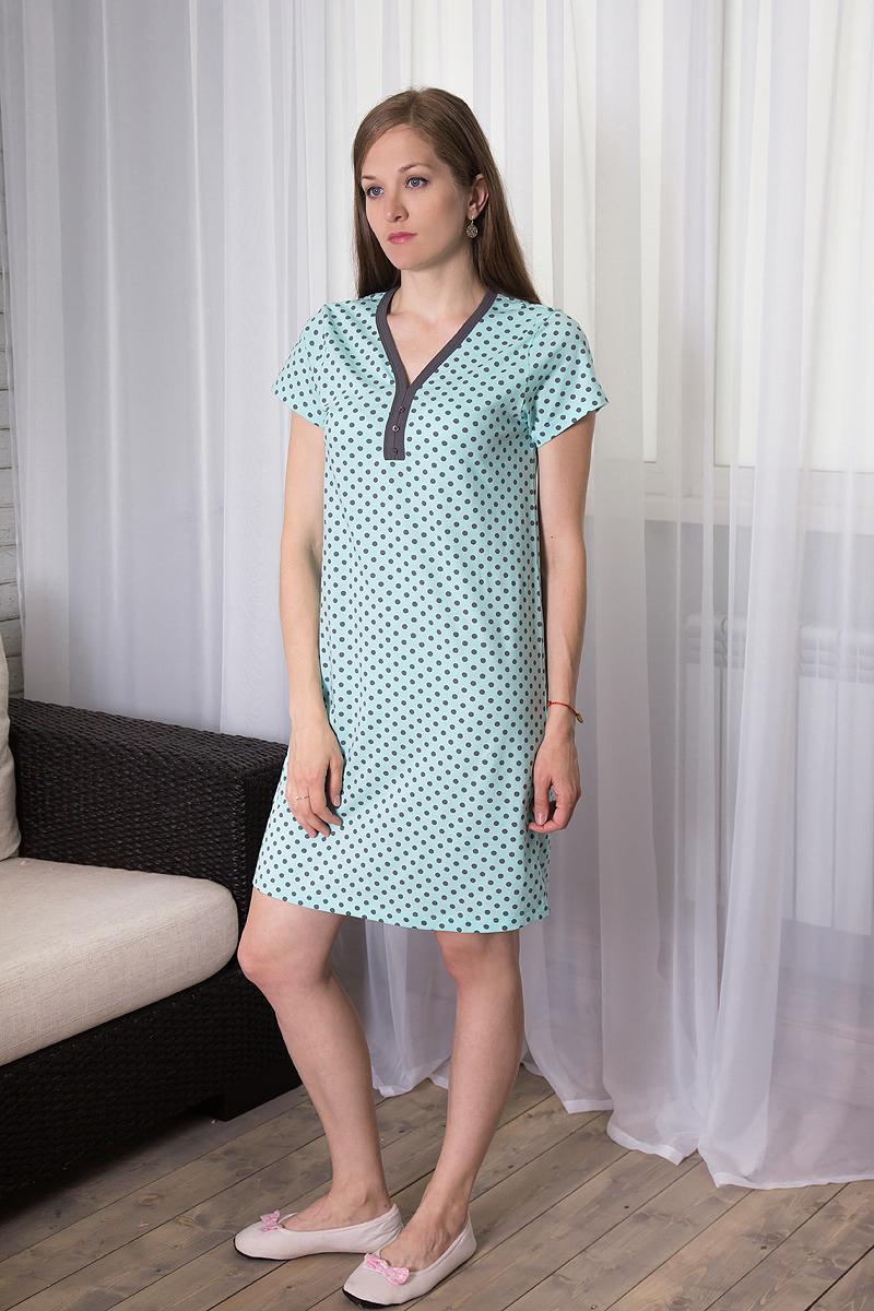 Платье домашнее Violett, цвет: ментоловый, темно-серый. 7117110722. Размер S (44)7117110722Домашнее платье Violett выполнено из натурального хлопка. Платье-миди свободного кроя с V-образным вырезом горловины и короткими рукавами оформлено принтом в горох, спереди - декоративными пуговицами.