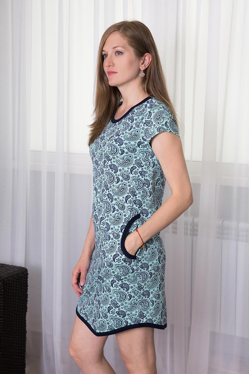 Платье домашнее Violett, цвет: ментоловый, темно-фиолетовый. 7117110712. Размер S (44)7117110712Домашнее платье Violett выполнено из натурального хлопка. Платье-миди с круглым вырезом горловины и короткими рукавами оформлено оригинальным цветочным принтом. Спереди расположены два втачных кармана.