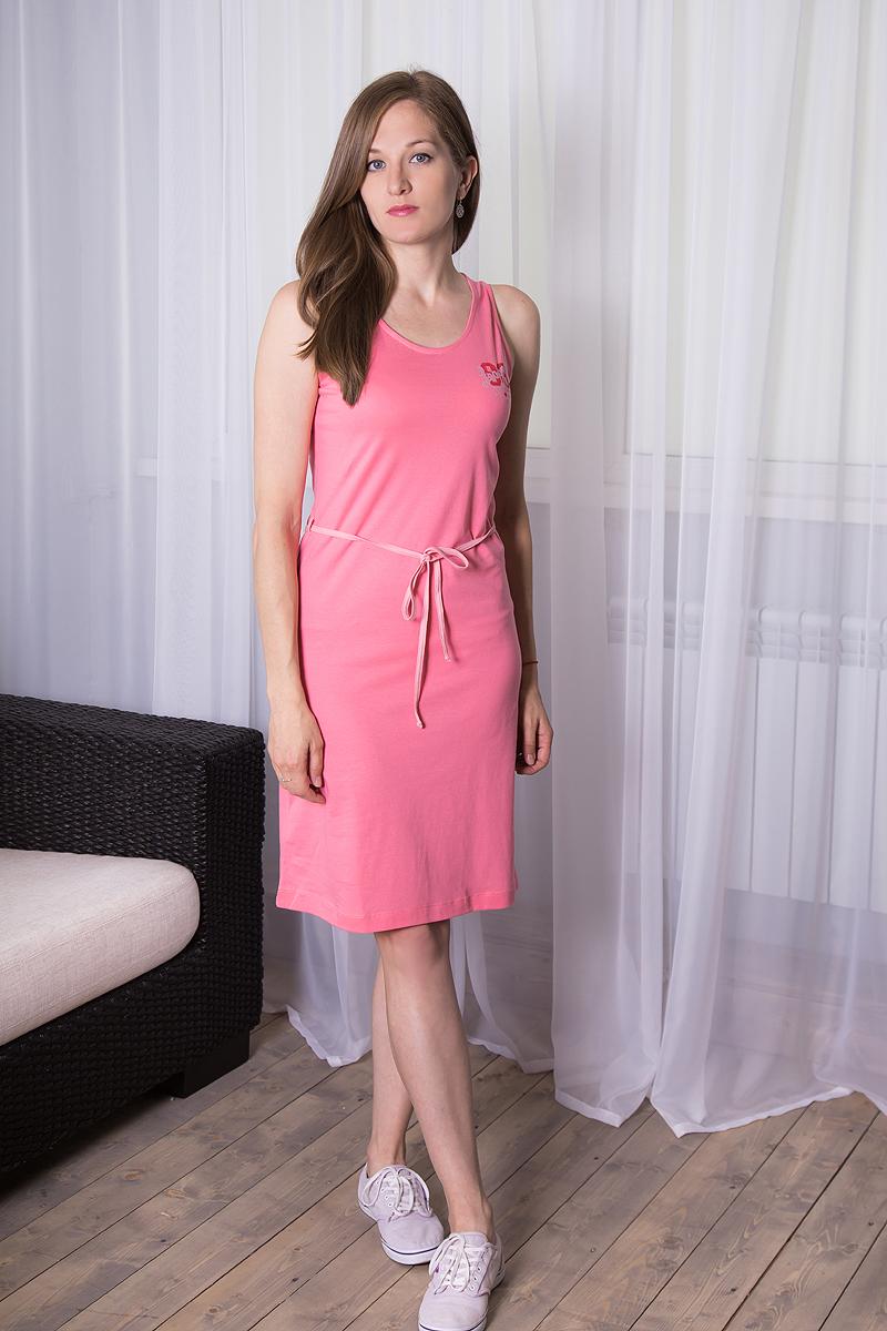 Платье домашнее Violett, цвет: розовый. 7117110518. Размер XL (50)7117110518Платье домашнее Violett изготовлено из натурального хлопка. Модель с круглым вырезом горловины, оформлена принтовыми надписями и дополнена эластичным поясом.