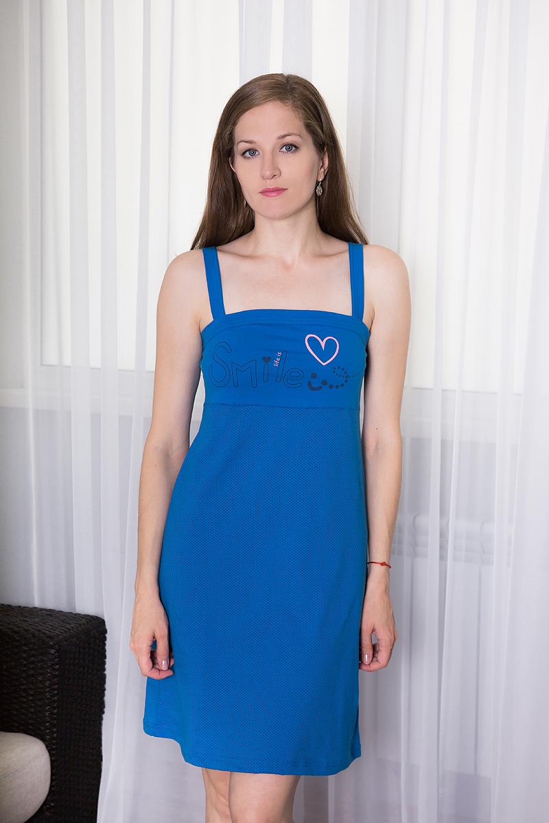 Платье домашнее Violett, цвет: синий. 7117110329. Размер L (48)7117110329Платье домашнее Violett изготовлено из натурального хлопка. Модель на бретельках оформлена интересным принтом и надписями.