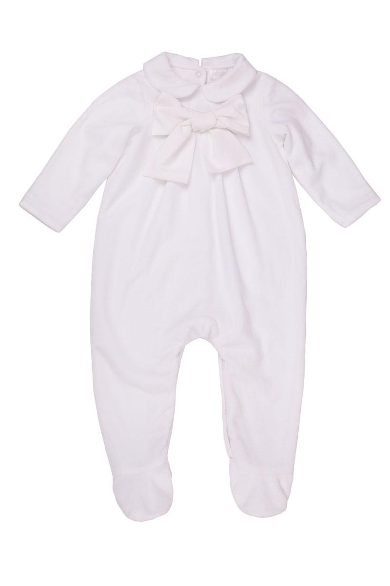 Комбинезон детский Gulliver Baby, цвет: белый. 216GBUNC5302. Размер 6/9мес216GBUNC5302Нарядный велюровый комбинезон с крупным бантом вполне может служить изделием для выписки новорожденного. Мягкая хлопковая подкладка создаст уют и тепло, белый велюр подчеркнет торжественность момента! Если вы хотите купить комбинезон для выписки или знакомства младенца с родственниками и друзьями, эта элегантная модель - прекрасный выбор!