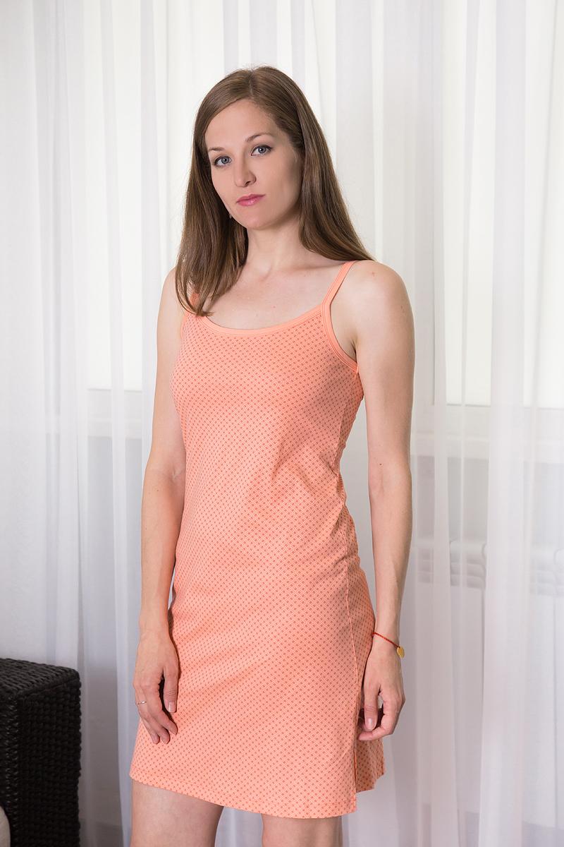 Платье домашнее Violett, цвет: персиковый. 7117110318. Размер XL (50)7117110318Платье домашнее Violett изготовлено из натурального хлопка. Модель на бретельках оформлена интересным принтом.