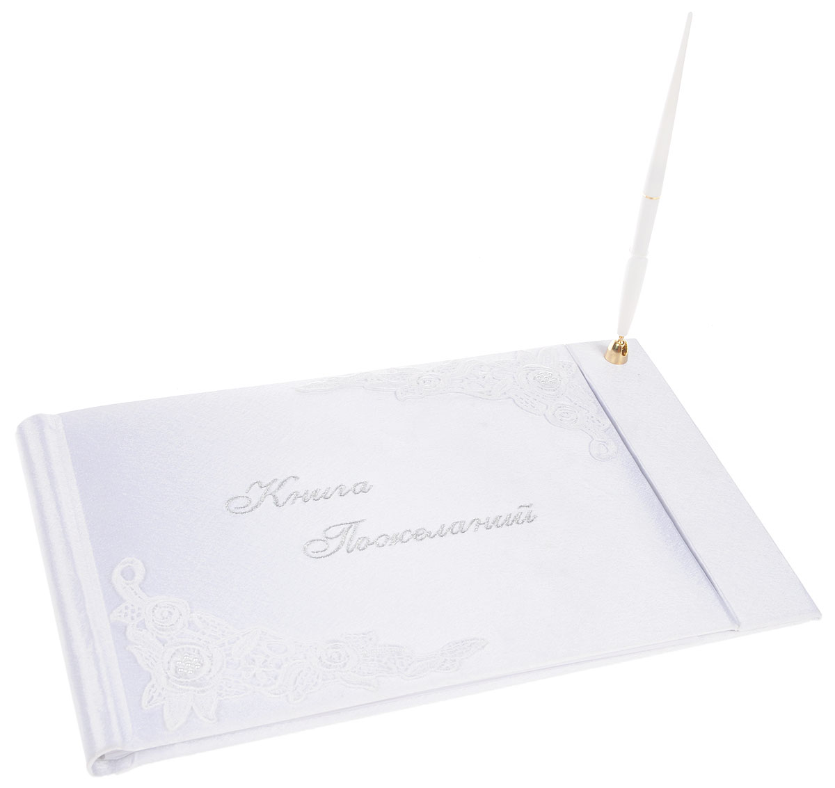 Книга пожеланий на свадьбу Bianco Sole, с ручкой, 29 х 20 см139352Книга пожеланий на свадьбу Bianco Sole прекрасно подойдет для записипожеланий и напутствий новобрачным.Книга вручную обтянута белоснежным матовым атласом, украшена красивойаппликацией с изображением цветов. Надпись на обложке Книга пожеланийвыполнена красивым рукописным шрифтом. Листы книги разлинованы, чтобыгостям было удобно писать на них самые теплые слова!В комплект входит шариковая ручка с черными чернилами. Такая книга пожеланий ручной работы выглядит очень нежно и красиво! Размер книги: 29 х 20 см.