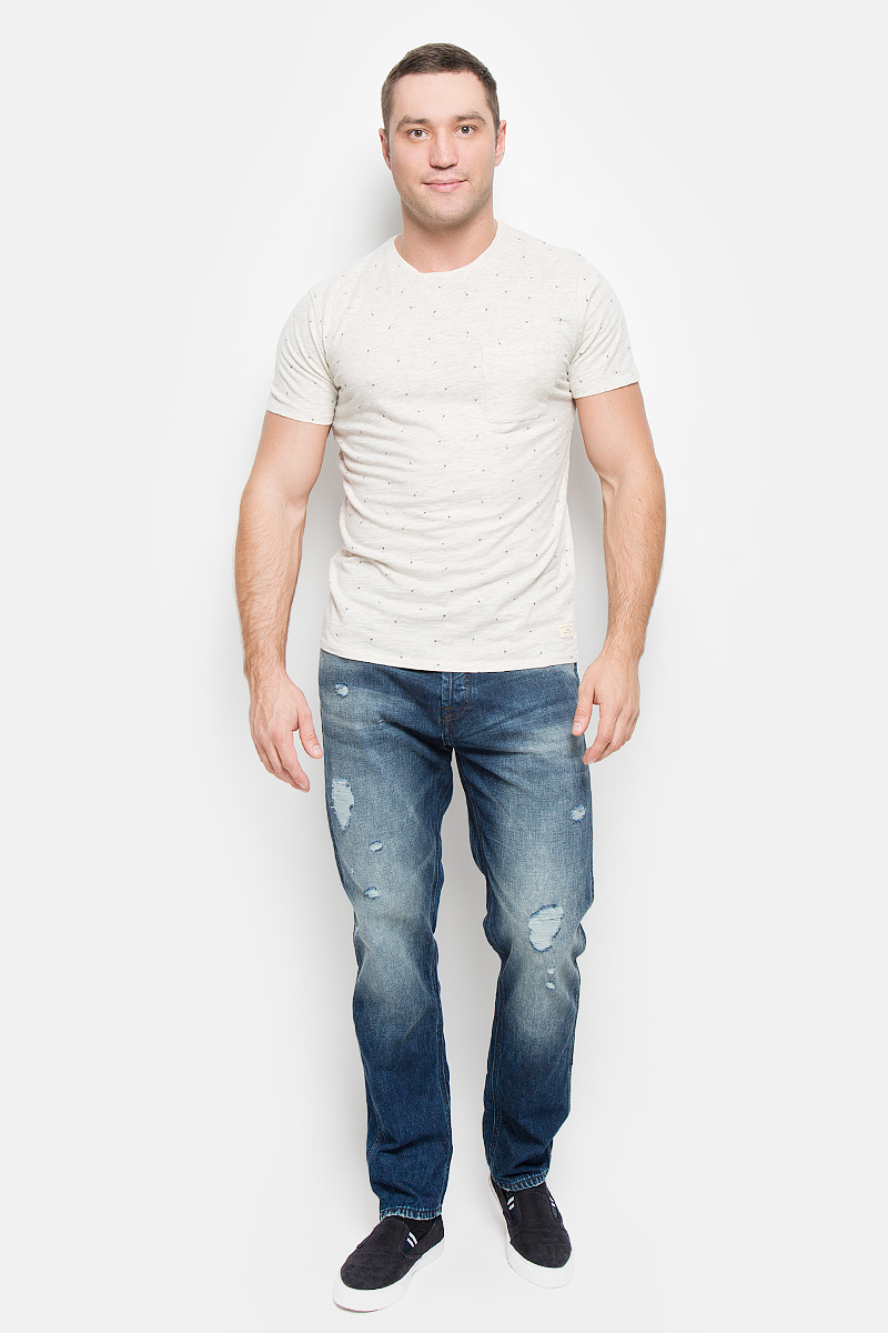 Футболка мужская Selected Homme, цвет: серый, бежевый. 16051436. Размер XL (50) водолазка мужская selected homme identity цвет молочный 16052854 размер xl 50