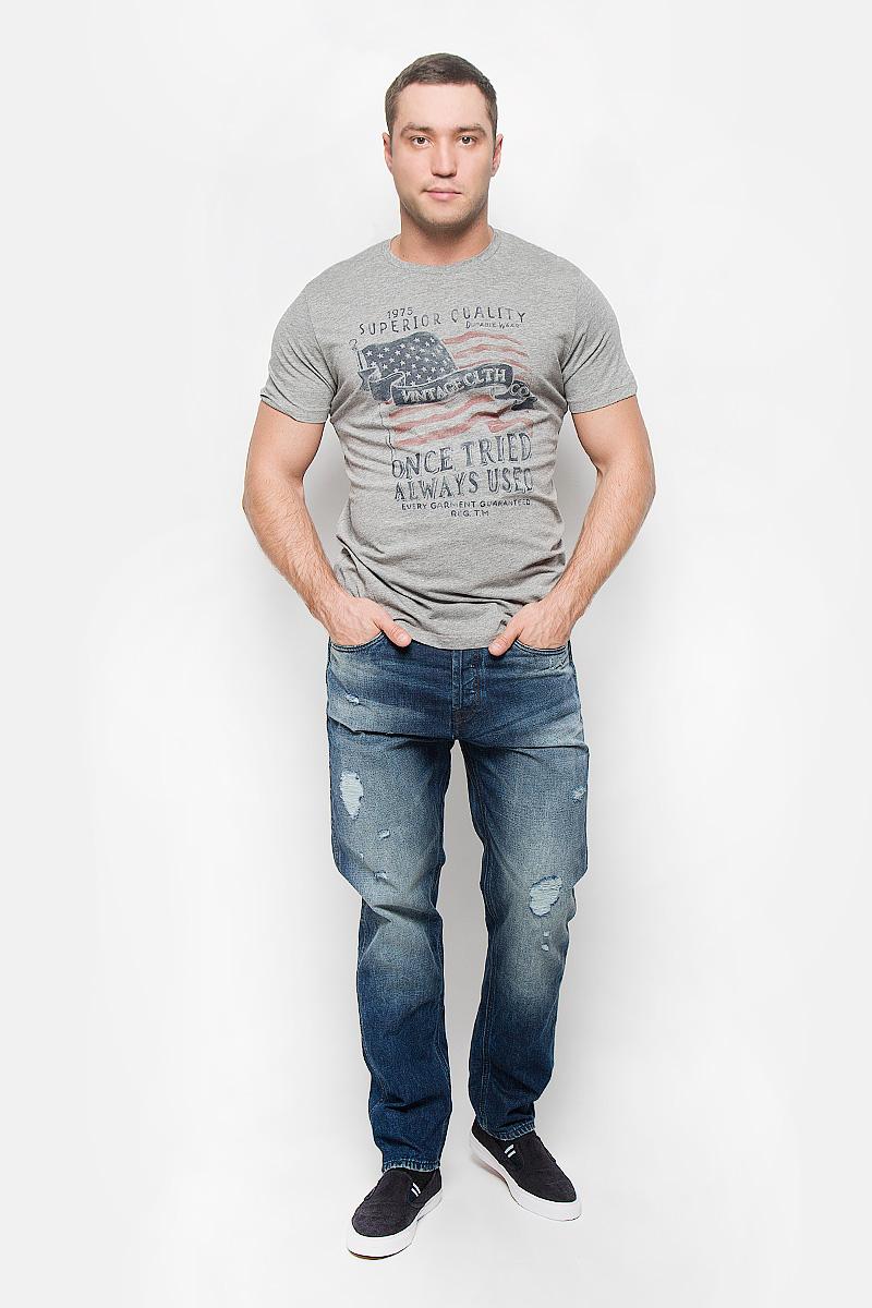 Футболка мужская Jack & Jones Vintage, цвет: серый меланж. 12110042. Размер M (46) толстовка мужская jack & jones vintage цвет серый меланж 12109128 размер xxl 52