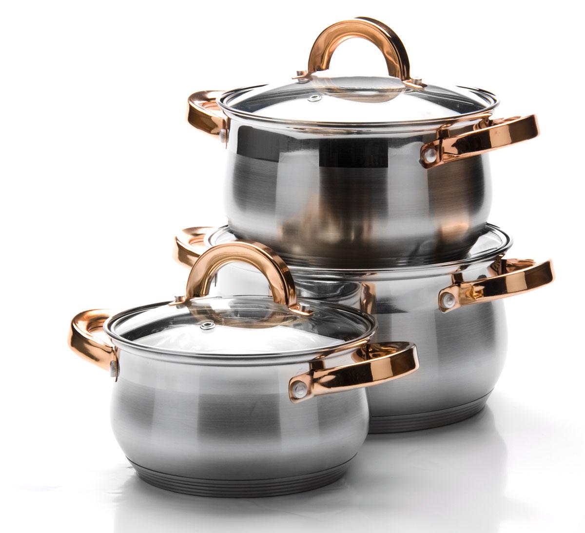 Набор посуды Mayer & Boch, 6 предметов. 2509225092Набор посуды станет отличным дополнением к набору кухонной утвари. С его приобретением приготовление ваших любимых блюд перейдет на качественно новый уровень и вы сможете воплотить в жизнь любые кулинарные идеи. В комплект входят 6 предметов: 3 кастрюли (объем 1,8/ 2,5/ 3,5), 3 крышки. Набор многофункционален и удобен в использовании, подойдет для варки супов, приготовления блюд из мяса и рыбы, гарниров, соусов т. д.