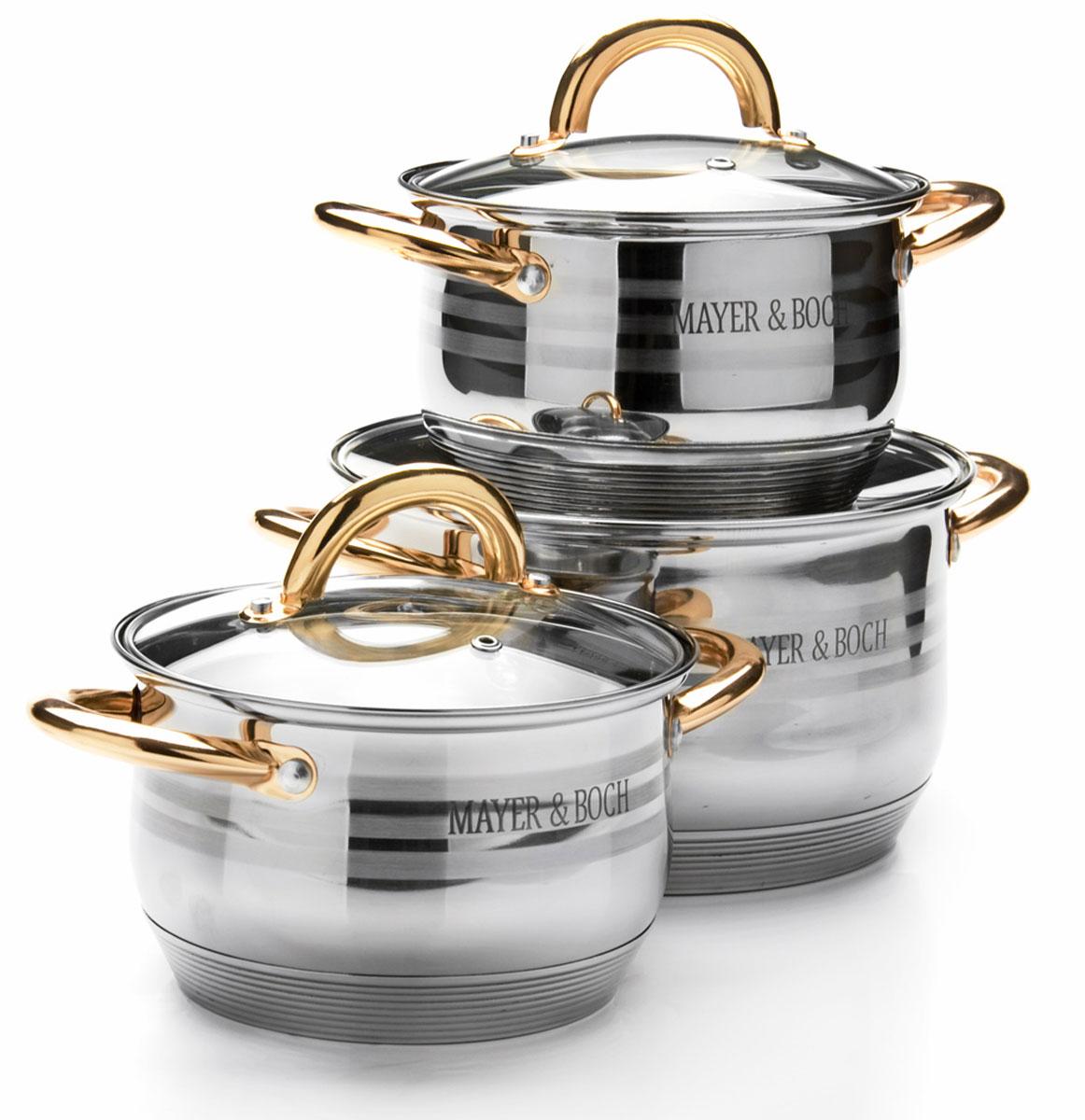 Набор посуды Mayer & Boch, 6 предметов. 2567025670Набор посуды Mayer & Boch состоит из 3 кастрюль с крышками. Посуда выполнена из высококачественной нержавеющей стали с усиленным индукционным дном. Внешняя поверхность посуды с зеркальной полировкой декорирована матовыми полосками. Нержавеющая сталь - это экологически чистый, безопасный для здоровья материал, который не вступает в реакцию с продуктами и не искажает вкус приготовленных блюд. Изделия снабжены крышками из термостойкого стекла с паровыпуском и металлическим ободом, а также удобными ненагревающимися стальными ручками золотого цвета, что придает посуде роскошный внешний вид. Многослойное дно обеспечит быстрый нагрев продуктов и надолго сохранит тепло. Посуда подходит для использования на всех типах плит, включая индукционные. Подходит для мытья в посудомоечной машине.Объем кастрюль: 2,1 л; 2,1 л; 3,9 л