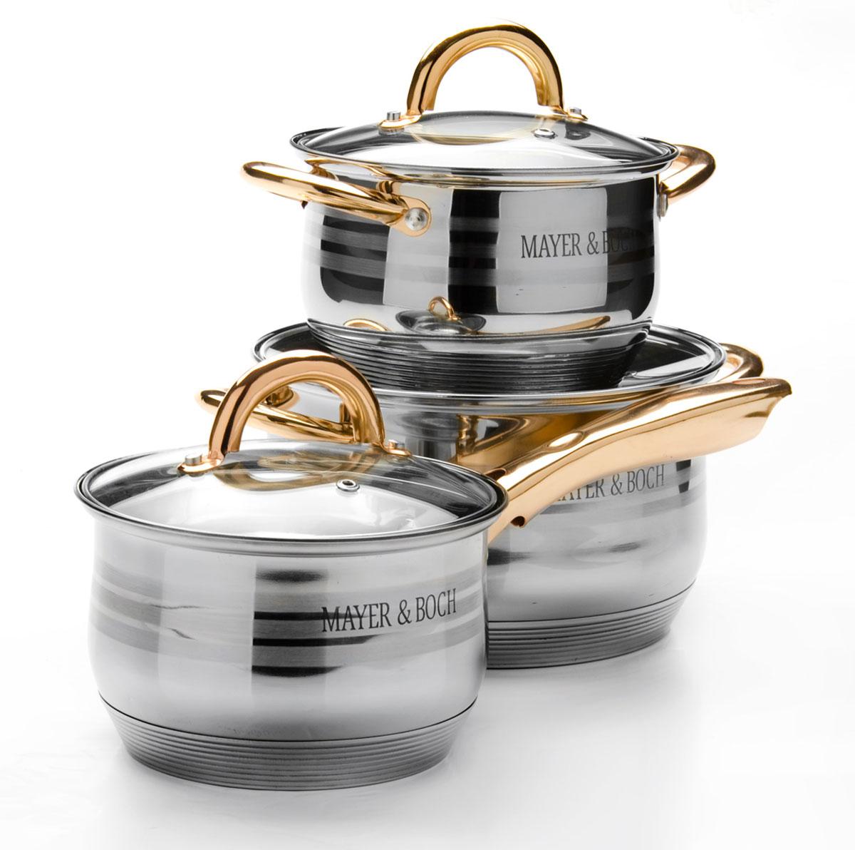 Набор посуды Mayer & Boch, с крышками, 6 предметов. 2567125671Набор посуды Mayer & Boch выполнен из высококачественной многослойной нержавеющей стали с комбинированной полировкой. Этот набор посуды предназначен для здорового и экологичного приготовления пищи. Посуда имеет многослойное капсульное дно с алюминиевым основанием, которое быстро и равномерно накапливает тепло и также равномерно передает его пище. Внутренняя поверхность идеально ровная, что значительно облегчает мытье. Крышки, выполненные из термостойкого стекла, имеют отверстие паровыпуска и металлический обод. Крышки плотно прилегают к краям посуды, предотвращая проливание жидкости и сохраняя аромат блюд. Также изделия снабжены эргономичными ручками из стали.Подходит для использования на всех типах плит, включая индукционные. Подходит для мытья в посудомоечной машине.Ковш: объем 2,1 л; диаметр 16 см; высота стенки 10,5 см.Кастрюля: объем 2,1 л; диаметр 16 см; высота стенки 10,5 см.Кастрюля: объем 3,9 л; диаметр 20 см; высота стенки 12,5 см.