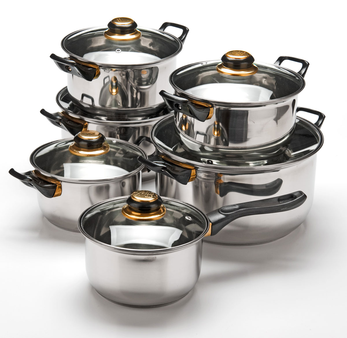 Набор посуды Mayer & Boch, 12 предметов. 2575025750Набор посуды станет отличным дополнением к набору кухонной утвари. С его приобретением приготовление ваших любимых блюд перейдет на качественно новый уровень и вы сможете воплотить в жизнь любые кулинарные идеи. В комплект входят 12 предметов: сотейник (объем 1,4 л), 3 кастрюли (объем 1,4, 2,9, 4,9 л) и 2 кастрюли ( объем 2 л), 6 крышек. Набор многофункционален и удобен в использовании, подойдет для варки супов, приготовления блюд из мяса и рыбы, гарниров, соусов т. д.