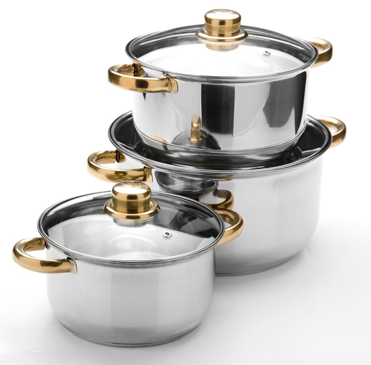 Набор посуды станет отличным дополнением к набору кухонной утвари. С его приобретением приготовление ваших любимых блюд перейдет на качественно новый уровень и вы сможете воплотить в жизнь любые кулинарные идеи. В комплект входят 6 предметов: 3 кастрюли (объем 2/ 2,9/ 4,9), 3 крышки. Набор многофункционален и удобен в использовании, подойдет для варки супов, приготовления блюд из мяса и рыбы, гарниров, соусов т. д.