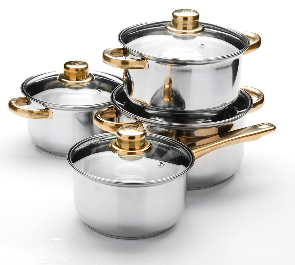 Набор посуды Mayer & Boch, 8 предметов. 2575625756Набор посуды Mayer & Boch включает 3 кастрюля с крышками и ковш с крышкой. Посуда выполнена из высококачественной нержавеющей пищевой стали с зеркальной внешней поверхностью. Внутренняя поверхность идеально ровная, что значительно облегчает мытье. Крышки, выполненные из термостойкого стекла, имеют отверстие паровыпуска и металлический обод. Крышки плотно прилегают к краям посуды, предотвращая проливание жидкости и сохраняя аромат блюд. Также кастрюли снабжены эргономичными стальными ручками. Набор подходит для использования на всех типах плит, кроме индукционных. Подходит для мытья в посудомоечной машине. Объем кастрюль: 1,4 л; 2 л, 2,9 л. Диаметр кастрюль: 16 см, 18 см, 20 см. Высота стенок кастрюль: 9,5 см, 10,5 см, 11,5 см. Объем ковша: 1,4 л. Диаметр ковша: 16 см. Высота стенки ковша: 9,5 см. Толщина стенок: 3 мм.