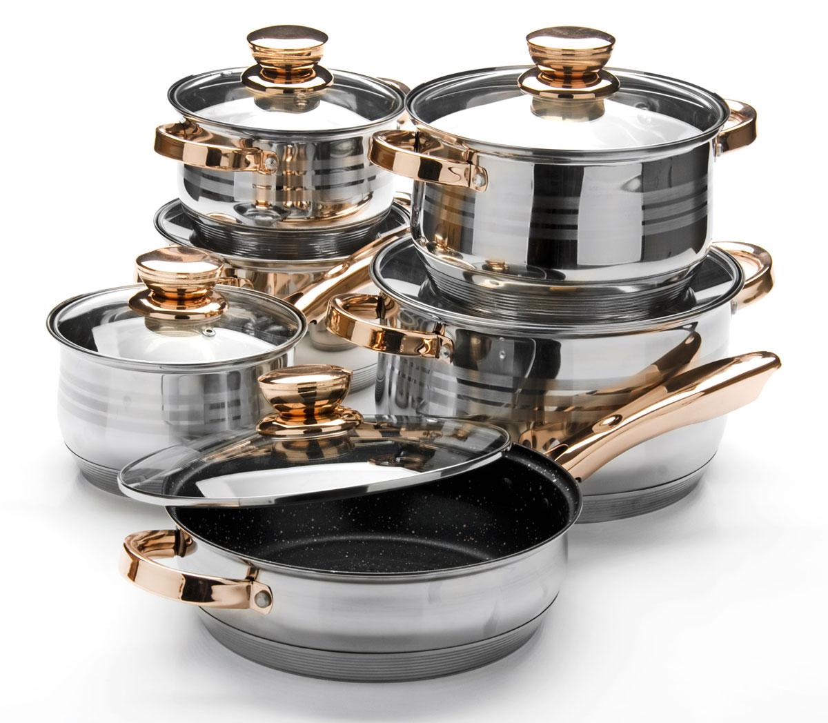 Набор посуды Mayer & Boch, 12 предметов. 2603426034Набор посуды Mayer & Boch изготовлен из высококачественной нержавеющей стали с толщиной стенок 4 мм и усиленным индукционным дном. Этот набор кастрюль предназначен для здорового и экологичного приготовления пищи, качественная сталь обеспечит быстрый нагрев продуктов и надолго сохранит тепло. Сковорода имеет внутреннее антипригарное покрытие (мраморная крошка). Изделия снабжены крышками из термостойкого стекла с паровыпуском и металлическим ободом, а также удобными не нагревающимися стальными ручками цвета розового золота. Внешняя поверхность посуды гладкая с зеркальной полировкой и гравировкой в форме колец. Изделия легко и просто моются. В комплекте 12 предметов: 4 кастрюли с крышками, 1 сотейник с крышкой, 1 сковорода с крышкой.Сотейник: (2,1 л) D16 х 10,5 см. Кастрюля: (2,1 л) D16 х 10,5 см. Кастрюля: (2,9 л) D18 х 11,5 см. Кастрюля: (3,9 л) D20 х 12,5 см. Кастрюля: (6,6 л) D24 х 14,5 см. Сковорода: (3,4 л) D24 х 7,5 см. Подходит для использования на всех типах плит, включая индукционные. Подходит для мытья в посудомоечной машине.
