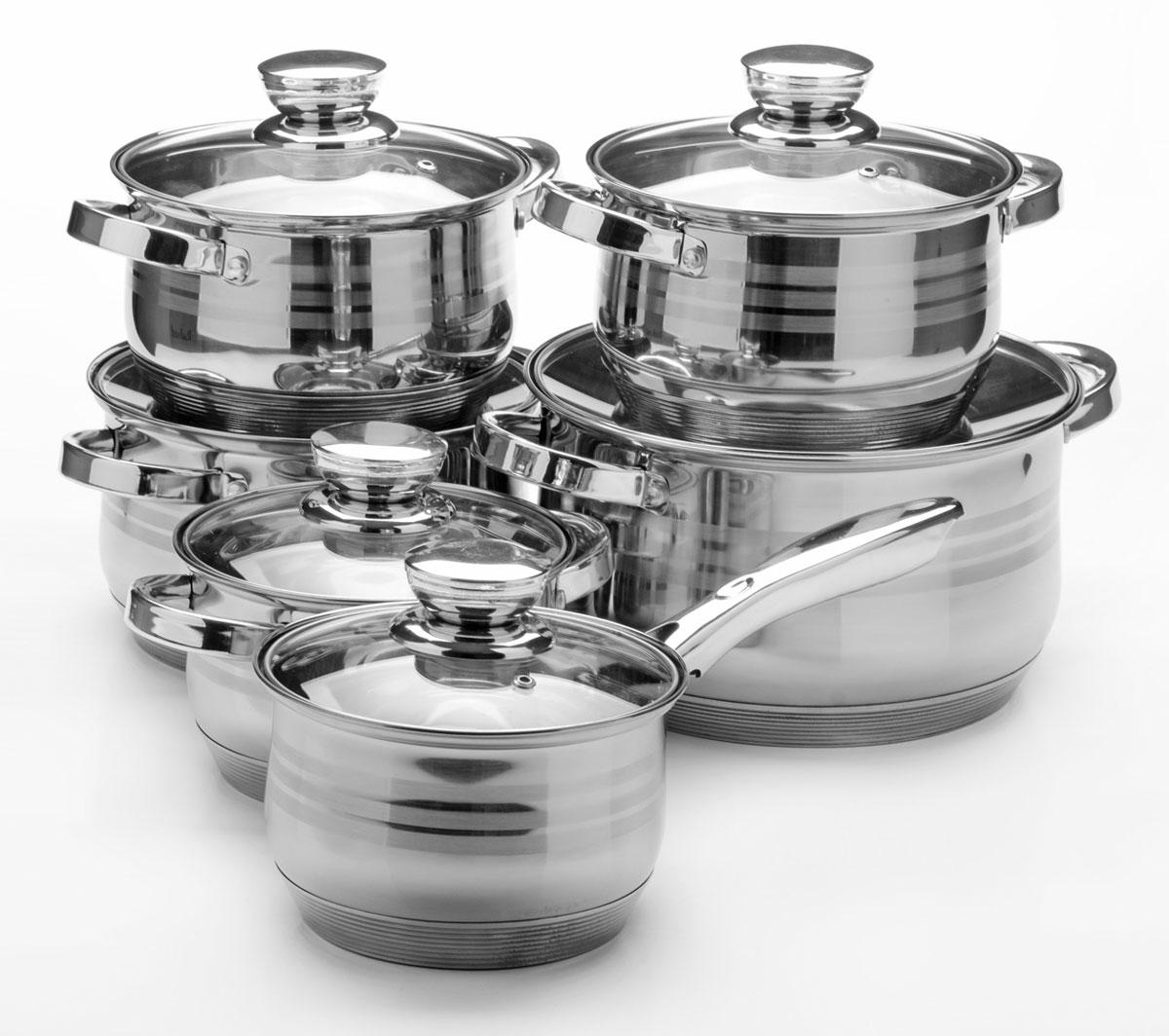 Набор посуды Mayer & Boch, 12 предметов. 2603526035Набор посуды станет отличным дополнением к набору кухонной утвари. С его приобретением приготовление ваших любимых блюд перейдет на качественно новый уровень и вы сможете воплотить в жизнь любые кулинарные идеи. В комплект входят 12 предметов: сотейник (объем 2,1 л), 3 кастрюли (объем 2,1, 3,9, 6,6 л) и 2 кастрюли (объем 2,9 л), 6 крышек. Набор многофункционален и удобен в использовании, подойдет для варки супов, приготовления блюд из мяса и рыбы, гарниров, соусов т. д.