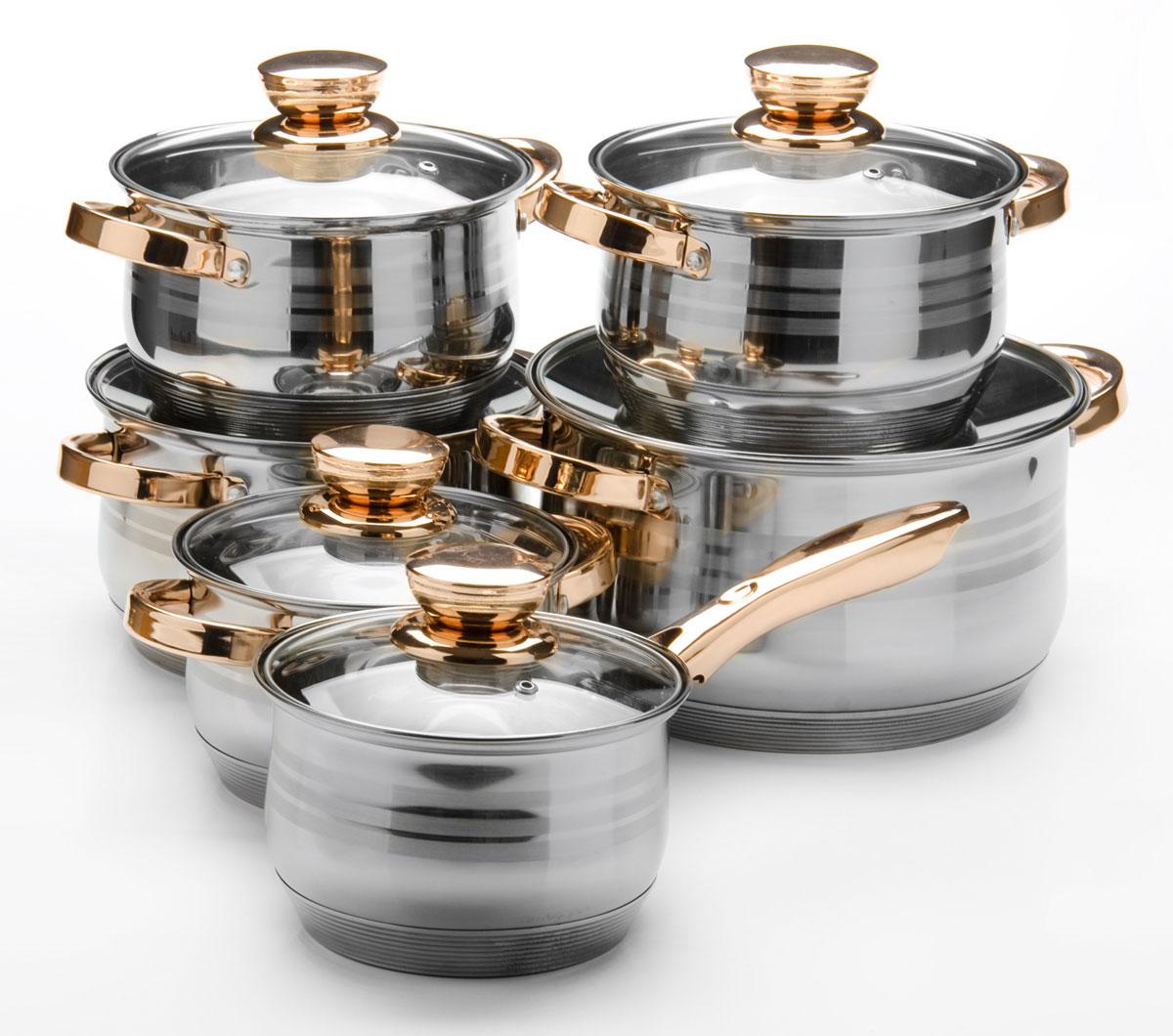 Набор посуды Mayer & Boch, 12 предметов. 2603626036Набор посуды станет отличным дополнением к набору кухонной утвари. С его приобретением приготовление ваших любимых блюд перейдет на качественно новый уровень и вы сможете воплотить в жизнь любые кулинарные идеи. В комплект входят 12 предметов: сотейник (объем 2,1 л), 3 кастрюли (объем 2,1, 3,9, 6,6 л) и 2 кастрюли (объем 2,9 л), 6 крышек. Набор многофункционален и удобен в использовании, подойдет для варки супов, приготовления блюд из мяса и рыбы, гарниров, соусов т. д.
