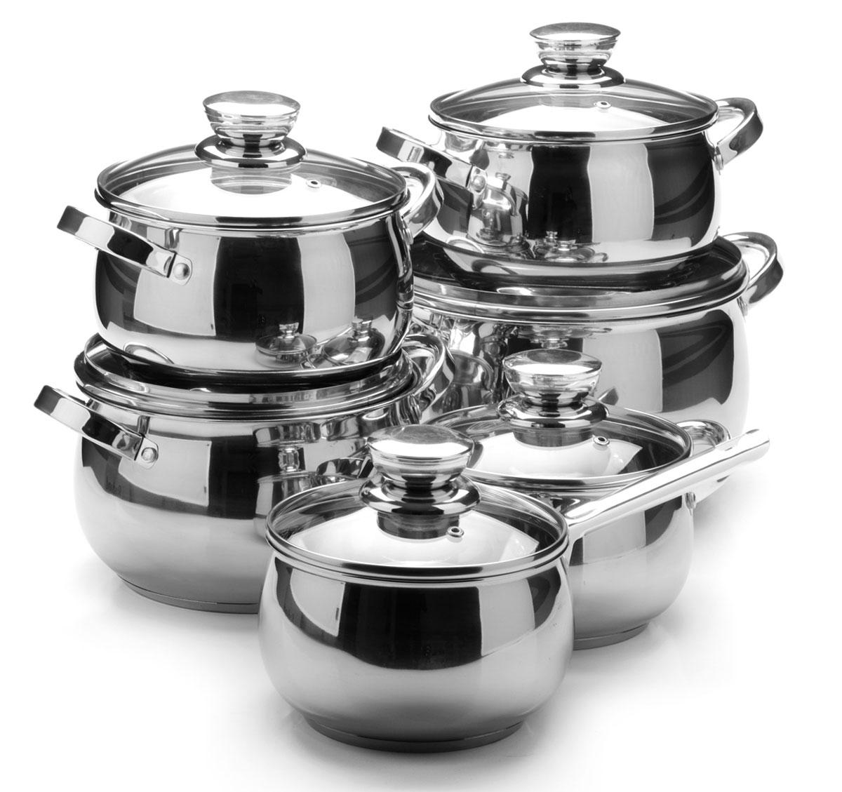 Набор посуды станет отличным дополнением к набору кухонной утвари. С его приобретением приготовление ваших любимых блюд перейдет на качественно новый уровень и вы сможете воплотить в жизнь любые кулинарные идеи. В комплект входят 12 предметов: сотейник (объем 2,1 л), 3 кастрюли (объем 2,1, 3,9, 6,6 л) и 2 кастрюли ( объем 2,9 л), 6 крышек. Набор многофункционален и удобен в использовании, подойдет для варки супов, приготовления блюд из мяса и рыбы, гарниров, соусов т. д.