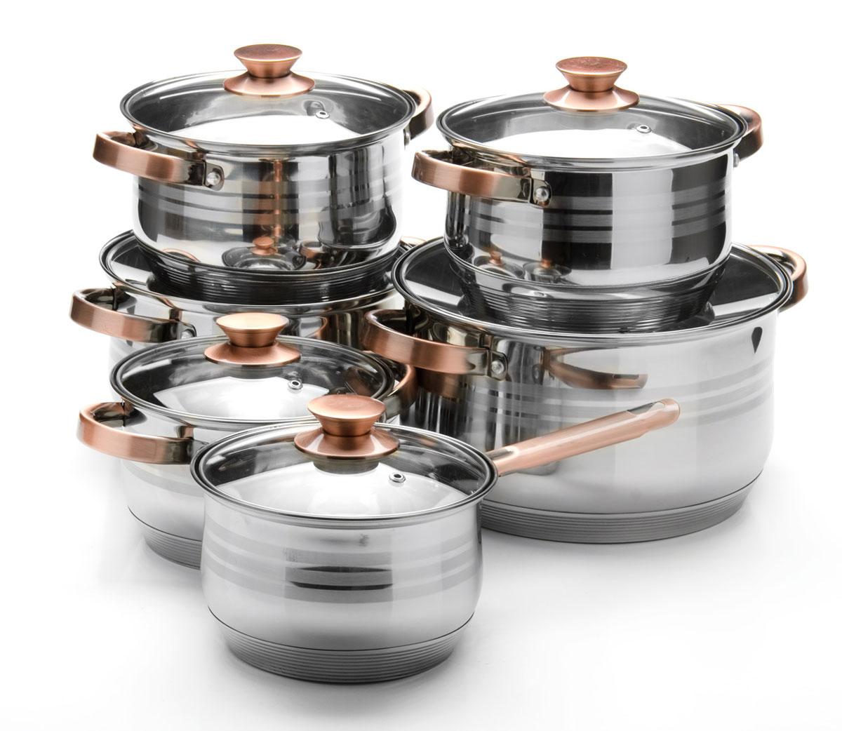 Набор посуды Mayer & Boch, 12 предметов. 2604226042Набор посуды станет отличным дополнением к набору кухонной утвари. С его приобретением приготовление ваших любимых блюд перейдет на качественно новый уровень и вы сможете воплотить в жизнь любые кулинарные идеи. В комплект входят 12 предметов: сотейник (объем 2,1 л), 3 кастрюли (объем 2,1, 3,9, 6,6 л) и 2 кастрюли (объем 2,9 л), 6 крышек. Набор многофункционален и удобен в использовании, подойдет для варки супов, приготовления блюд из мяса и рыбы, гарниров, соусов т. д.