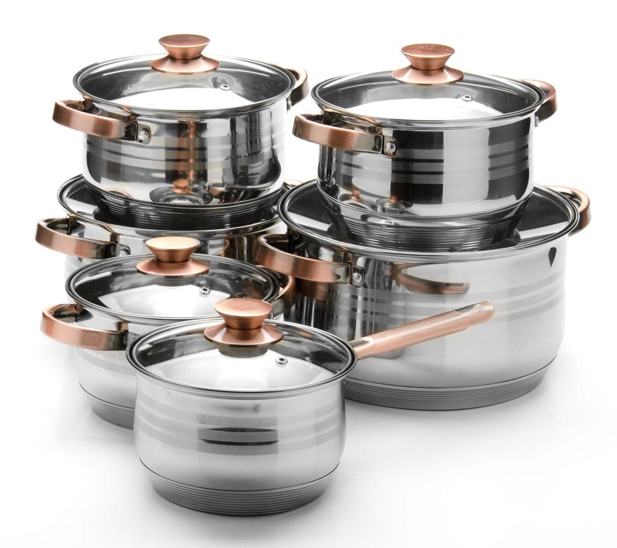 Набор посуды Mayer & Boch, 12 предметов. 2604326043Набор посуды станет отличным дополнением к набору кухонной утвари. С его приобретением приготовление ваших любимых блюд перейдет на качественно новый уровень и вы сможете воплотить в жизнь любые кулинарные идеи. В комплект входят 12 предметов: сотейник (объем 2,1 л), 3 кастрюли (объем 2,1, 6,6, 8 л) и 2 кастрюли (объем 2,9 л), 6 крышек. Набор многофункционален и удобен в использовании, подойдет для варки супов, приготовления блюд из мяса и рыбы, гарниров, соусов т. д.