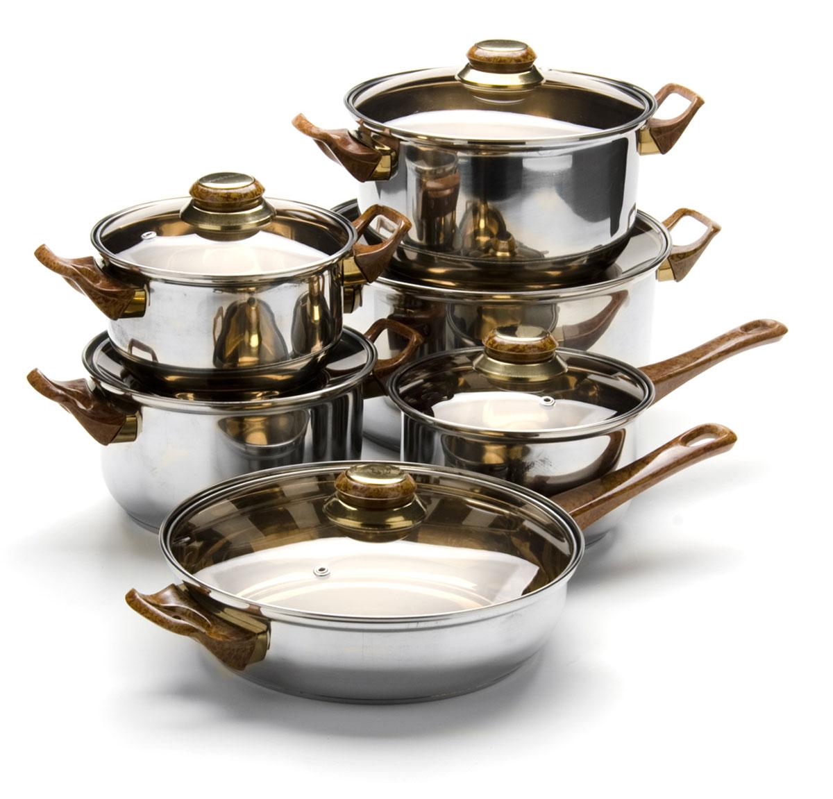 Набор посуды станет отличным дополнением к набору кухонной утвари. С его приобретением приготовление ваших любимых блюд перейдет на качественно новый уровень и вы сможете воплотить в жизнь любые кулинарные идеи. В комплект входят 12 предметов: ковш (объем 1,9 л), сковорода (объем 4 л), 4 кастрюли (объем 1,9, 2,8, 3,6, 7 л), 6 крышек. Набор многофункционален и удобен в использовании, подойдет для варки супов, приготовления блюд из мяса и рыбы, гарниров, соусов т. д.