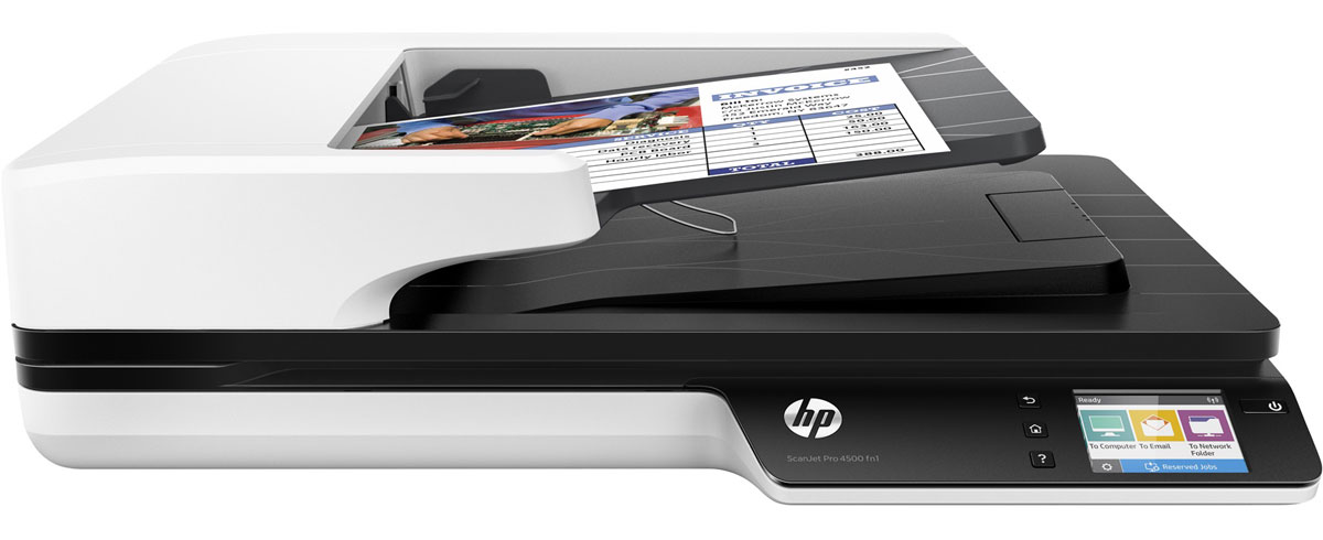 HP ScanJet Pro 4500 fn1 сканер (L2749A)L2749AHP ScanJet Pro 4500 fn1 - продвинутый сетевой сканер. Рекомендуемая норма составляет 4000 страниц в день с использованием функции двустороннего сканирования. Используйте сенсорный экран для отправки цифровых документов по беспроводной сети или с помощью Wi-Fi Direct.Используйте подключение Gigabit Ethernet, чтобы отправить отсканированные изображения на электронную почту, в сетевую папку или на компьютер. Приложение HP JetAdvantage Capture позволяет выполнять сканирование напрямую на мобильные устройства, а также редактировать и сохранять полученные файлы.Встроенный веб-сервер позволяет отслеживать задания и управлять ими, а также использовать средства безопасности. Передача отсканированных изображений по сети осуществляется с помощью протоколов безопасности. Чтобы отправить их на мобильное устройство, воспользуйтесь технологией Wi-Fi Direct.Быстрое и надежное сканирование каждой страницыФункция двустороннего сканирования позволяет обрабатывать до 60 изображений (30 страниц) в минуту. Благодаря технологии HP EveryPage с ультразвуковым датчиком ни одна страница не будет потеряна даже при сканировании большого количества разнородных материалов. Устройство АПД подходит для страниц размером до 21,6 х 309,9 см (8,5 х 122), а планшет позволяет сканировать крупные носители. Оцените надежность функций сетевого сканирования и планшетного сканера. Благодаря компактным размерам это устройство отлично поместится на вашем рабочем столе.Гибкие возможности сканирования для оптимизации процесса работыБлагодаря встроенному ПО Kofax VR5 Pro, TWAIN и ISIS с поддержкой всех функций вы можете сканировать изображения напрямую в приложения. Определение профилей сканирования для распространенных типов документов и отправка результатов в несколько мест назначения осуществляется с помощью программного обеспечения HP Scan. Точный захват текста из документов для удобного редактирования доступен с помощью HP Scan и I.R.I.S. Также программное обеспече
