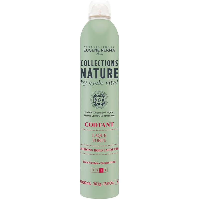 Eugene Perma Cycle Vital Nature Laque Forte - Лак для сильной фиксации волос 500 мл21033020Подходит для создания причесок любой сложности. Обеспечивает надежную фиксацию. Легко удаляется при расчесывании. Придает великолепный блеск. Защищает волосы от воздействия влаги. Фактор фиксации: 3 из 4