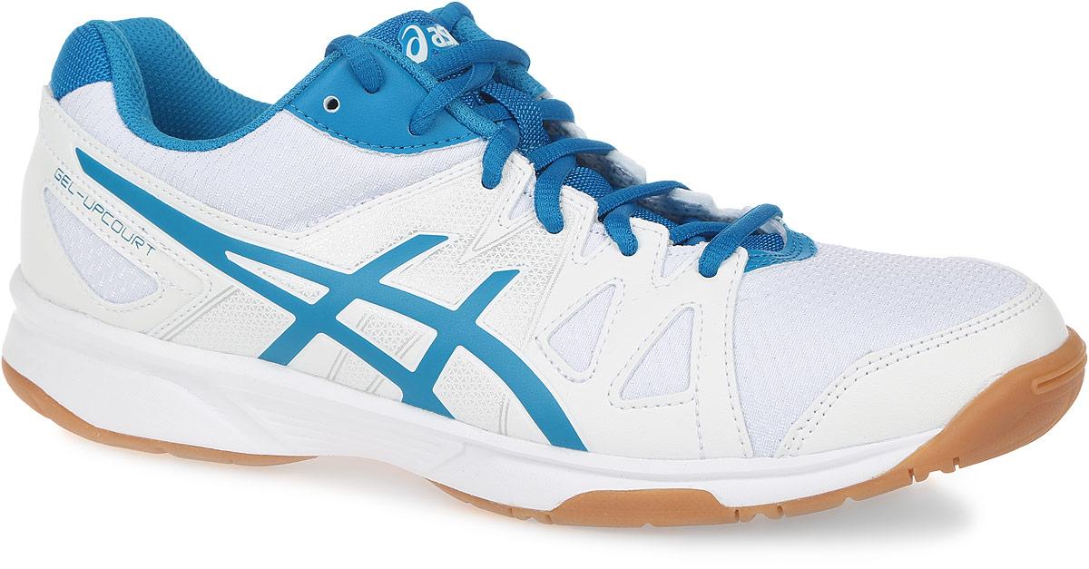 Кроссовки для волейбола мужские Asics Gel-Upcourt, цвет: белый, сине-голубой. B400N-0143. Размер 11H (44,5)B400N-0143Кроссовки для волейбола Gel-Upcourt от Asics выполнены из воздухопроницаемой сетки, поддерживающей оптимальный микроклимат внутри кроссовка, со вставками из полимерных материалов. Удобная шнуровка гарантирует быструю адаптивность к изменяющимся условиям и поддержку ноги. Asics Гель (специальный вид силикона) в пятке снижает нагрузку на колени и позвоночник спортсмена. Гибкая подошва оснащена рельефным рисунком.
