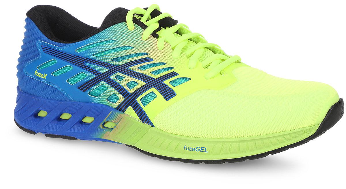 Кроссовки для бега мужские Asics Fuzex, цвет: неоновый желтый, голубой. T639N-0790. Размер 8 (40)T639N-0790Кроссовки Asics Fuzex выполнены из текстиля и полимера. Модель выполнена в оригинальном дизайне и оформлена фирменным принтом. На ноге модель фиксируется с помощью шнурков. Внутренняя поверхность выполнена из сетчатого текстиля. Стелька выполнена из мягкого ЭВА-материала с текстильной поверхностью. Подошва изготовлена из легкого и гибкого ЭВА-материала. Поверхность подошвы выполнена из прочной резины и дополнена протектором, который гарантирует отличное сцепление с любой поверхностью.