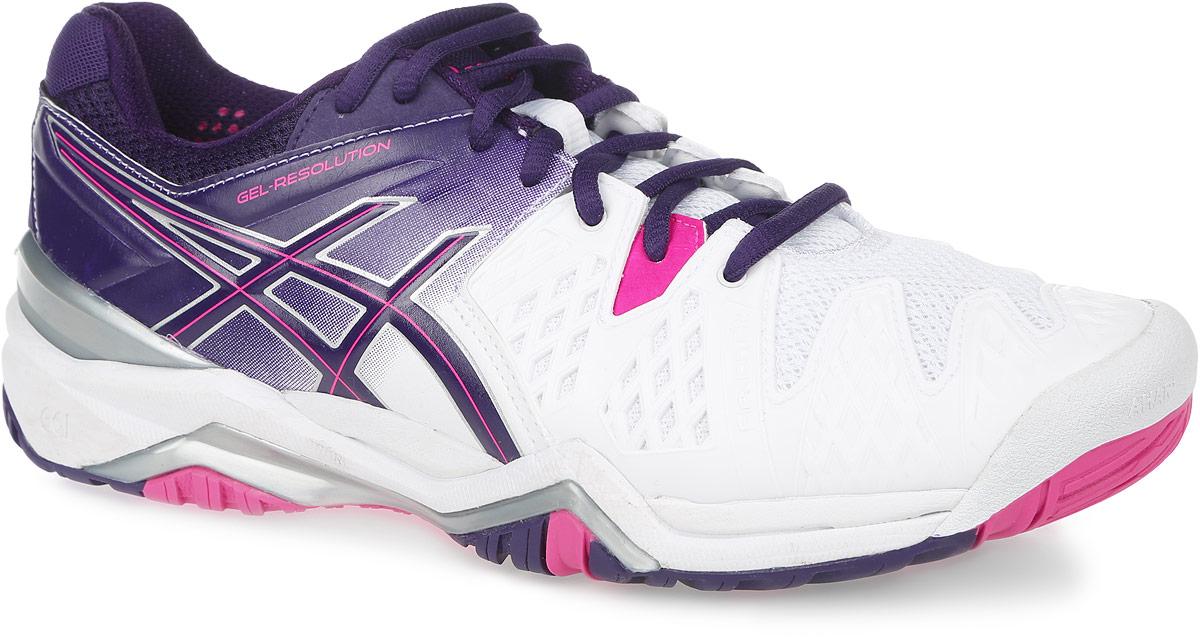 Кроссовки для тенниса женские Asics Gel-Resolution 6, цвет: белый, фиолетовый, розовый. E550Y-0133. Размер 8H (38,5)E550Y-0133Стильные женские кроссовки Gel-Resolution 6 от Asics придутся по душе поклонницам тенниса. Верх модели, выполненный из синтетической кожи и дышащего текстиля, дополнен прорезиненными вставками. Конструкция Flexion Fit обеспечивает комфорт и идеальную посадку обуви на ноге. Дышащий материал обеспечивает легкость, комфорт и воздухопроницаемость. Классическая шнуровка надежно фиксирует модель на стопе. Подкладка, изготовленная из текстиля, гарантирует уют и предотвращает натирание. Съемная стелька из материала ЭВА с текстильной поверхностью обеспечивает комфорт. Колодка California предназначена для стабильности и комфорта. Пластиковый литой элемент Trusstic в средней части подошвы препятствует скручиванию стопы. Рифление на подошве гарантирует отличное сцепление с любой поверхностью.