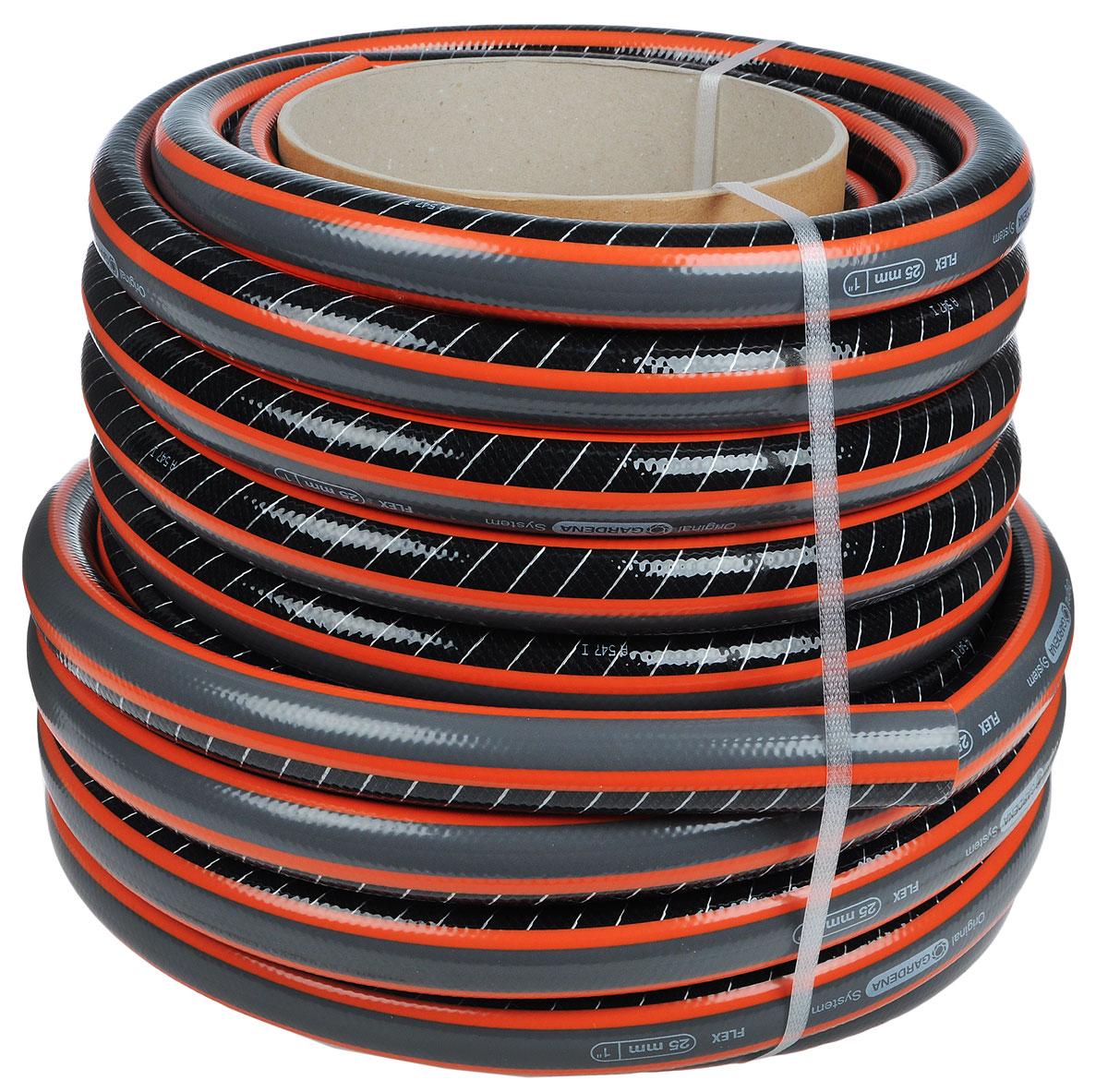 Шланг Gardena Flex, диаметр 25 мм, длина 25 м18057-22.000.00Шланг Gardena Flex c ребристым профилем Power Grip для идеального соединения с коннектором базовой системы полива. Благодаря спиралевидному текстильному армированию, усиленному углеродными волокнами, шланг стал устойчивее к высокому давлению и сохранению формы. Шланг не содержит фталаты и тяжелые металлы и невосприимчив к УФ-излучению. Толстые стенки шланга обеспечивают длительный срок службы и безопасность использования.Длина шланга: 25 м.Диаметр шланга: 25 мм.Давление разрыва: 25 бар.