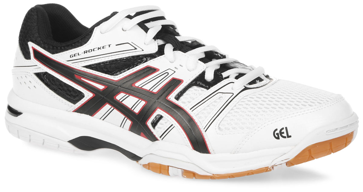 Кроссовки для волейбола мужские Asics Gel-Rocket 7, цвет: белый, черный, красный. B405N-0190. Размер 11H (44,5)