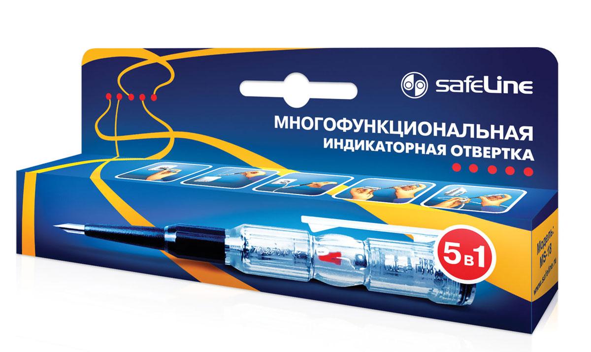 Отвертка индикаторная SafeLine, многофункциональная11692Многофункциональное устройство 5 в 1: определение «ФАЗА-НОЛЬ» определение переменного напряжения (в т.ч. для скрытой проводки) определение места обрыва кабеля проверка целостности цепи (ПРОЗВОН) определение полярности батареи или аккумулятора
