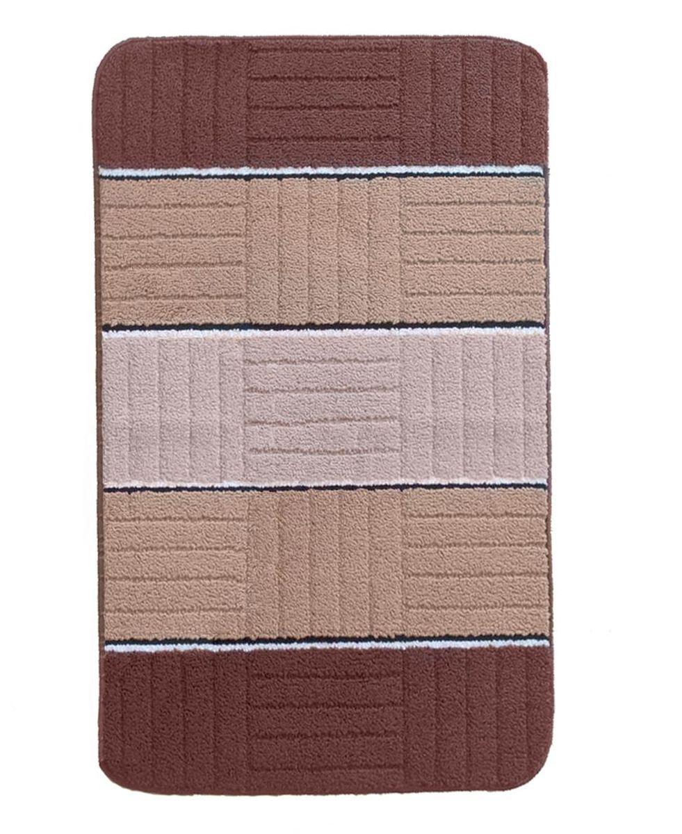 Коврик для ванной Kamalak Tekstil, цвет: коричневый, 60 x 100 см. УКВ-1001УКВ-1001Ковры-паласы выполнены из полипропилена. Ковры обладают хорошими показателями теплостойкости и шумоизоляции. Являются гиппоалергенными. За счет невысокого ворса ковры легко чистить. Вам придется по душе широкая гамма цветов и возможность гармонично оформить интерьер. Практичный и устойчивый к износу ворс - от постоянного хождения не истирается, не накапливает статическое электричество. Структура волокна в полипропиленовых моделях гладкая, поэтому грязь не может выесться, на ворсе она скапливается с трудом. Полипропилен не впитывает влагу, отталкивает водянистые пятна. Уход: Самый простой способ избавить изделие от грязи – пропылесосить его с обеих сторон (лицевой и изнаночной).Влажная уборка с применением шампуней и моющих средств не противопоказана. Если шерсти и шёлку универсальные чистящие составы не подходят, то для синтетики они придутся в самый раз.Хранить их нужно рулоном, не складывая «салфеткой».При надлежащем уходе синтетический ковёр прослужит долго, не утратив ни яркости узора, ни блеска ворса, ни его упругости.