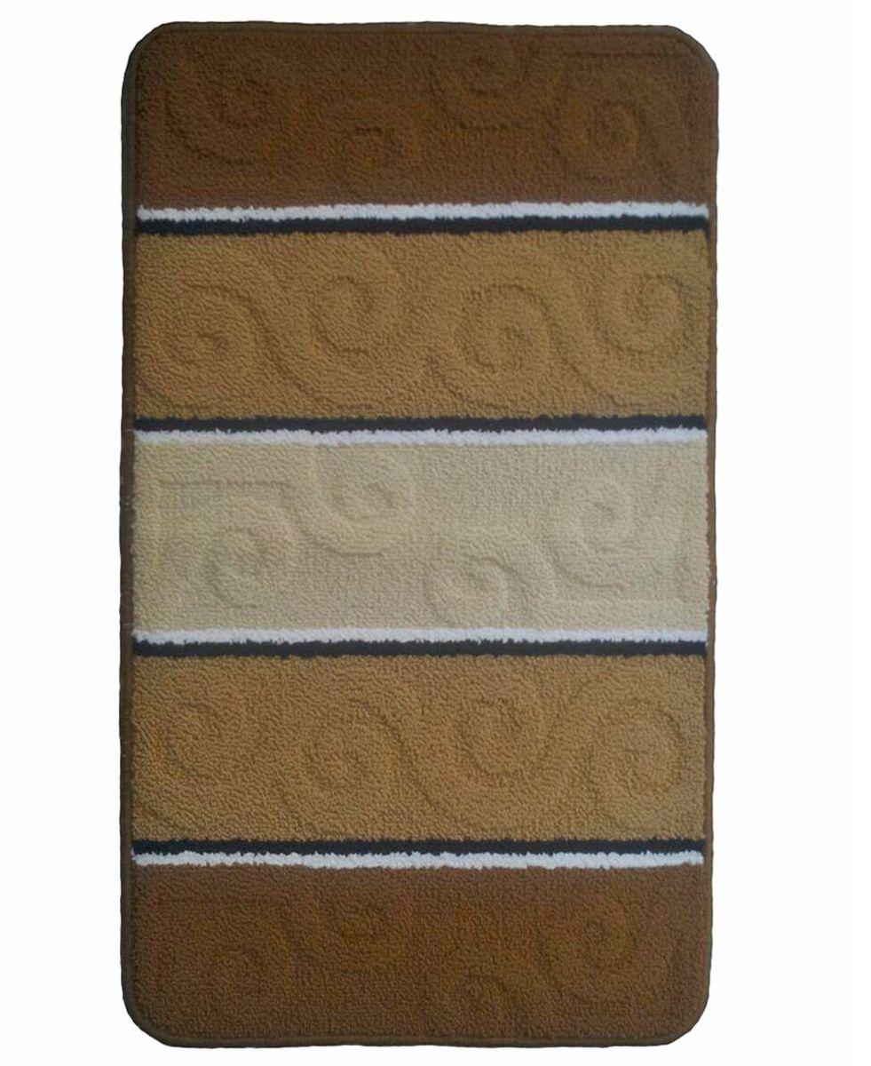 Коврик для ванной Kamalak Tekstil, цвет: бежевый, 60 х 100 см. УКВ-1007УКВ-1007Ковры-паласы выполнены из полипропилена. Ковры обладают хорошими показателями теплостойкости и шумоизоляции. Являются гиппоалергенными. За счет невысокого ворса ковры легко чистить. Вам придется по душе широкая гамма цветов и возможность гармонично оформить интерьер. Практичный и устойчивый к износу ворс - от постоянного хождения не истирается, не накапливает статическое электричество. Структура волокна в полипропиленовых моделях гладкая, поэтому грязь не может выесться, на ворсе она скапливается с трудом. Полипропилен не впитывает влагу, отталкивает водянистые пятна. Уход: Самый простой способ избавить изделие от грязи – пропылесосить его с обеих сторон (лицевой и изнаночной).Влажная уборка с применением шампуней и моющих средств не противопоказана. Если шерсти и шёлку универсальные чистящие составы не подходят, то для синтетики они придутся в самый раз.Хранить их нужно рулоном, не складывая «салфеткой».При надлежащем уходе синтетический ковёр прослужит долго, не утратив ни яркости узора, ни блеска ворса, ни его упругости.