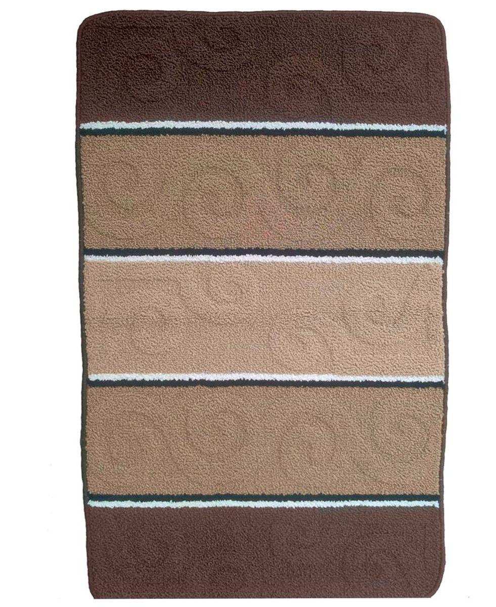 Коврик для ванной Kamalak Tekstil, цвет: коричневый, 60 x 100 см. УКВ-1008УКВ-1008Ковры-паласы выполнены из полипропилена. Ковры обладают хорошими показателями теплостойкости и шумоизоляции. Являются гиппоалергенными. За счет невысокого ворса ковры легко чистить. Вам придется по душе широкая гамма цветов и возможность гармонично оформить интерьер. Практичный и устойчивый к износу ворс - от постоянного хождения не истирается, не накапливает статическое электричество. Структура волокна в полипропиленовых моделях гладкая, поэтому грязь не может выесться, на ворсе она скапливается с трудом. Полипропилен не впитывает влагу, отталкивает водянистые пятна. Уход: Самый простой способ избавить изделие от грязи – пропылесосить его с обеих сторон (лицевой и изнаночной).Влажная уборка с применением шампуней и моющих средств не противопоказана. Если шерсти и шёлку универсальные чистящие составы не подходят, то для синтетики они придутся в самый раз.Хранить их нужно рулоном, не складывая «салфеткой».При надлежащем уходе синтетический ковёр прослужит долго, не утратив ни яркости узора, ни блеска ворса, ни его упругости.