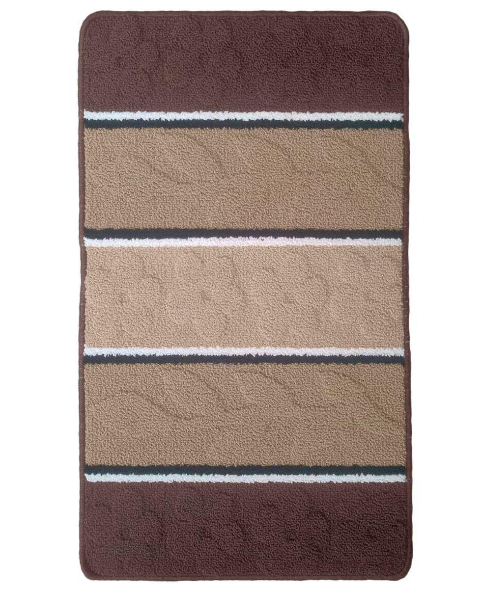 Коврик для ванной Kamalak Tekstil, цвет: коричневый, 60 x 100 см. УКВ-1017УКВ-1017Ковры-паласы выполнены из полипропилена. Ковры обладают хорошими показателями теплостойкости и шумоизоляции. Являются гиппоалергенными. За счет невысокого ворса ковры легко чистить. Вам придется по душе широкая гамма цветов и возможность гармонично оформить интерьер. Практичный и устойчивый к износу ворс - от постоянного хождения не истирается, не накапливает статическое электричество. Структура волокна в полипропиленовых моделях гладкая, поэтому грязь не может выесться, на ворсе она скапливается с трудом. Полипропилен не впитывает влагу, отталкивает водянистые пятна. Уход: Самый простой способ избавить изделие от грязи – пропылесосить его с обеих сторон (лицевой и изнаночной).Влажная уборка с применением шампуней и моющих средств не противопоказана. Если шерсти и шёлку универсальные чистящие составы не подходят, то для синтетики они придутся в самый раз.Хранить их нужно рулоном, не складывая «салфеткой».При надлежащем уходе синтетический ковёр прослужит долго, не утратив ни яркости узора, ни блеска ворса, ни его упругости.