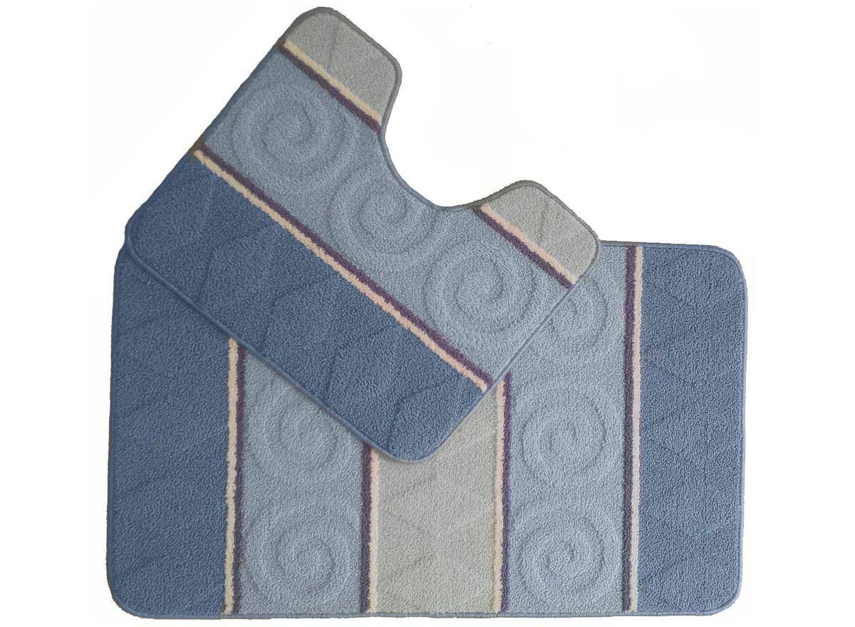 Набор ковриков для ванной комнаты Kamalak Tekstil, цвет: синий, 2 шт. УКВ-1020УКВ-1020Ковры-паласы выполнены из полипропилена. Ковры обладают хорошими показателями теплостойкости и шумоизоляции. Являются гиппоалергенными. За счет невысокого ворса ковры легко чистить. Вам придется по душе широкая гамма цветов и возможность гармонично оформить интерьер. Практичный и устойчивый к износу ворс - от постоянного хождения не истирается, не накапливает статическое электричество. Структура волокна в полипропиленовых моделях гладкая, поэтому грязь не может выесться, на ворсе она скапливается с трудом. Полипропилен не впитывает влагу, отталкивает водянистые пятна. Уход: Самый простой способ избавить изделие от грязи – пропылесосить его с обеих сторон (лицевой и изнаночной).Влажная уборка с применением шампуней и моющих средств не противопоказана. Если шерсти и шёлку универсальные чистящие составы не подходят, то для синтетики они придутся в самый раз.Хранить их нужно рулоном, не складывая «салфеткой».При надлежащем уходе синтетический ковёр прослужит долго, не утратив ни яркости узора, ни блеска ворса, ни его упругости.