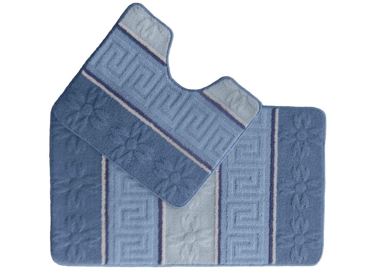 Набор ковриков для ванной комнаты Kamalak Tekstil, цвет: синий, 2 шт. УКВ-1021УКВ-1021Ковры-паласы выполнены из полипропилена. Ковры обладают хорошими показателями теплостойкости и шумоизоляции. Являются гиппоалергенными. За счет невысокого ворса ковры легко чистить. Вам придется по душе широкая гамма цветов и возможность гармонично оформить интерьер. Практичный и устойчивый к износу ворс - от постоянного хождения не истирается, не накапливает статическое электричество. Структура волокна в полипропиленовых моделях гладкая, поэтому грязь не может выесться, на ворсе она скапливается с трудом. Полипропилен не впитывает влагу, отталкивает водянистые пятна. Уход: Самый простой способ избавить изделие от грязи – пропылесосить его с обеих сторон (лицевой и изнаночной).Влажная уборка с применением шампуней и моющих средств не противопоказана. Если шерсти и шёлку универсальные чистящие составы не подходят, то для синтетики они придутся в самый раз.Хранить их нужно рулоном, не складывая «салфеткой».При надлежащем уходе синтетический ковёр прослужит долго, не утратив ни яркости узора, ни блеска ворса, ни его упругости.