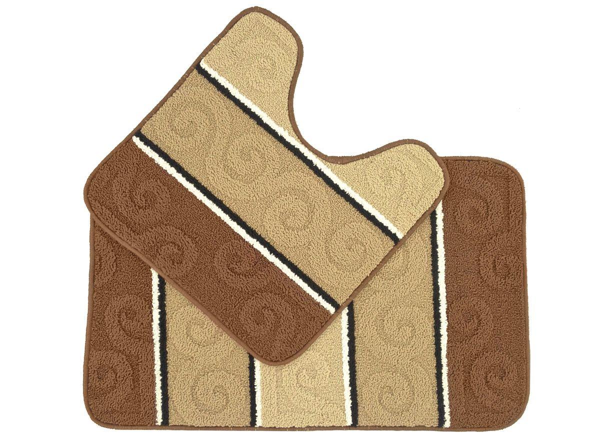 Набор ковриков для ванной комнаты Kamalak Tekstil, цвет: бежевый, 2 шт. УКВ-1024УКВ-1024Ковры-паласы выполнены из полипропилена. Ковры обладают хорошими показателями теплостойкости и шумоизоляции. Являются гиппоалергенными. За счет невысокого ворса ковры легко чистить. Вам придется по душе широкая гамма цветов и возможность гармонично оформить интерьер. Практичный и устойчивый к износу ворс - от постоянного хождения не истирается, не накапливает статическое электричество. Структура волокна в полипропиленовых моделях гладкая, поэтому грязь не может выесться, на ворсе она скапливается с трудом. Полипропилен не впитывает влагу, отталкивает водянистые пятна. Уход: Самый простой способ избавить изделие от грязи – пропылесосить его с обеих сторон (лицевой и изнаночной).Влажная уборка с применением шампуней и моющих средств не противопоказана. Если шерсти и шёлку универсальные чистящие составы не подходят, то для синтетики они придутся в самый раз.Хранить их нужно рулоном, не складывая «салфеткой».При надлежащем уходе синтетический ковёр прослужит долго, не утратив ни яркости узора, ни блеска ворса, ни его упругости.