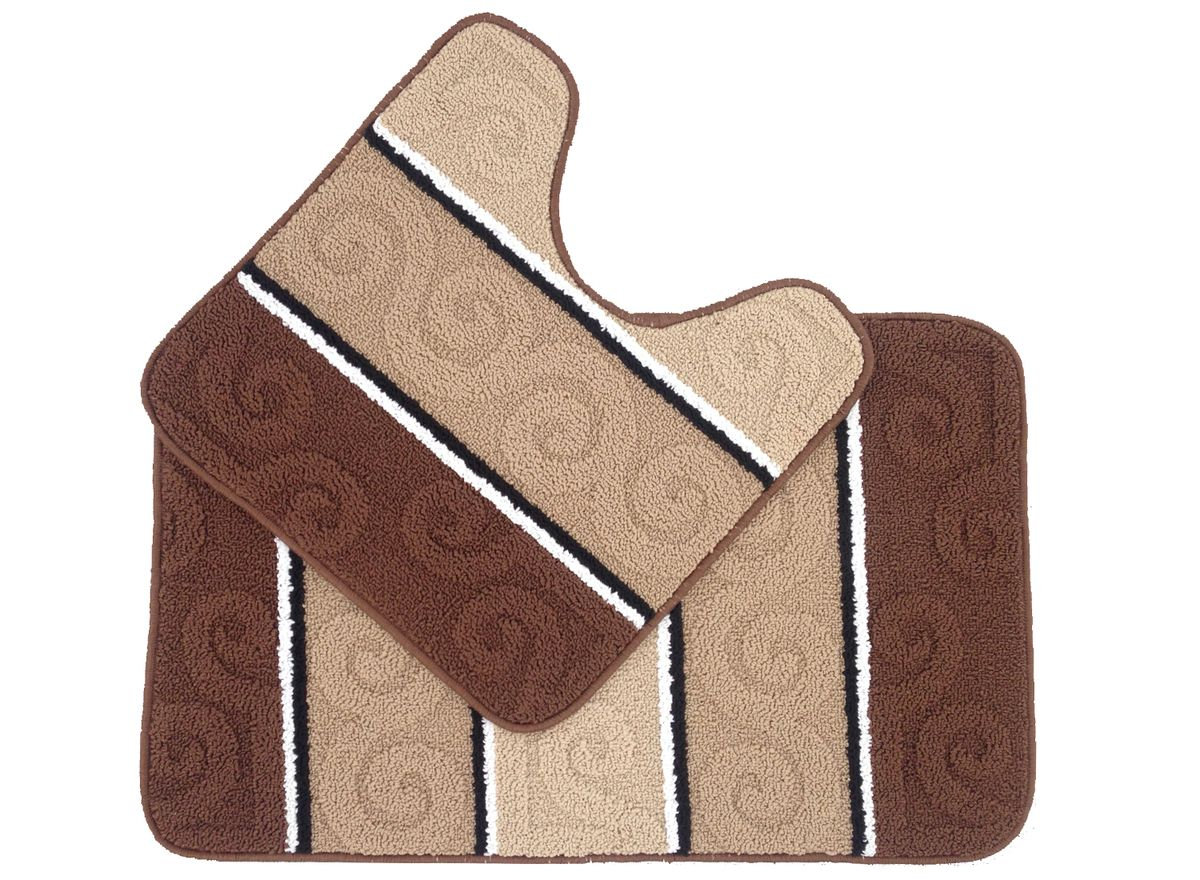 Набор ковриков для ванной комнаты Kamalak Tekstil, цвет: коричневый, 2 шт. УКВ-1025УКВ-1025Ковры-паласы выполнены из полипропилена. Ковры обладают хорошими показателями теплостойкости и шумоизоляции. Являются гиппоалергенными. За счет невысокого ворса ковры легко чистить. Вам придется по душе широкая гамма цветов и возможность гармонично оформить интерьер. Практичный и устойчивый к износу ворс - от постоянного хождения не истирается, не накапливает статическое электричество. Структура волокна в полипропиленовых моделях гладкая, поэтому грязь не может выесться, на ворсе она скапливается с трудом. Полипропилен не впитывает влагу, отталкивает водянистые пятна. Уход: Самый простой способ избавить изделие от грязи – пропылесосить его с обеих сторон (лицевой и изнаночной). Влажная уборка с применением шампуней и моющих средств не противопоказана. Если шерсти и шёлку универсальные чистящие составы не подходят, то для синтетики они придутся в самый раз. Хранить их нужно рулоном, не складывая «салфеткой». При надлежащем уходе синтетический ковёр прослужит долго, не утратив ни яркости узора, ни блеска ворса, ни его упругости.