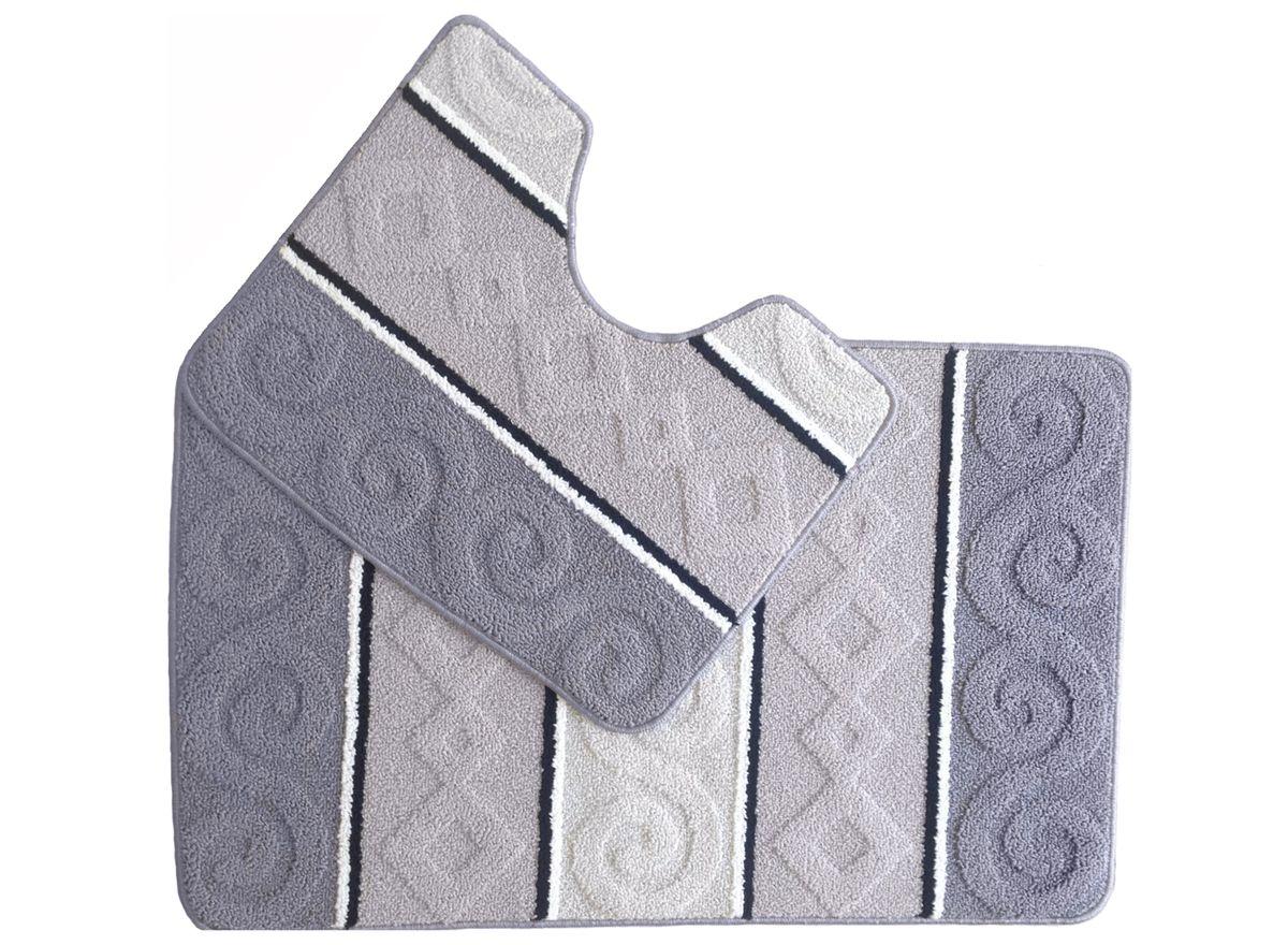 Набор ковриков для ванной комнаты Kamalak Tekstil, цвет: серый, 2 шт. УКВ-1031УКВ-1031Ковры-паласы Kamalak Tekstil выполнены из полипропилена. Ковры обладают хорошими показателями теплостойкости и шумоизоляции. Являются гиппоалергенными. За счет невысокого ворса ковры легко чистить. Вам придется по душе широкая гамма цветов и возможность гармонично оформить интерьер. Практичный и устойчивый к износу ворс - от постоянного хождения не истирается, не накапливает статическое электричество. Структура волокна в полипропиленовых моделях гладкая, поэтому грязь не может въесться, на ворсе она скапливается с трудом. Полипропилен не впитывает влагу, отталкивает водянистые пятна. Уход: Самый простой способ избавить изделие от грязи - пропылесосить его с обеих сторон (лицевой и изнаночной). Влажная уборка с применением шампуней и моющих средств не противопоказана. Если шерсти и шёлку универсальные чистящие составы не подходят, то для синтетики они придутся в самый раз. Хранить их нужно рулоном, не складывая салфеткой.При надлежащем уходе синтетический ковёр прослужит долго, не утратив ни яркости узора, ни блеска ворса, ни его упругости.