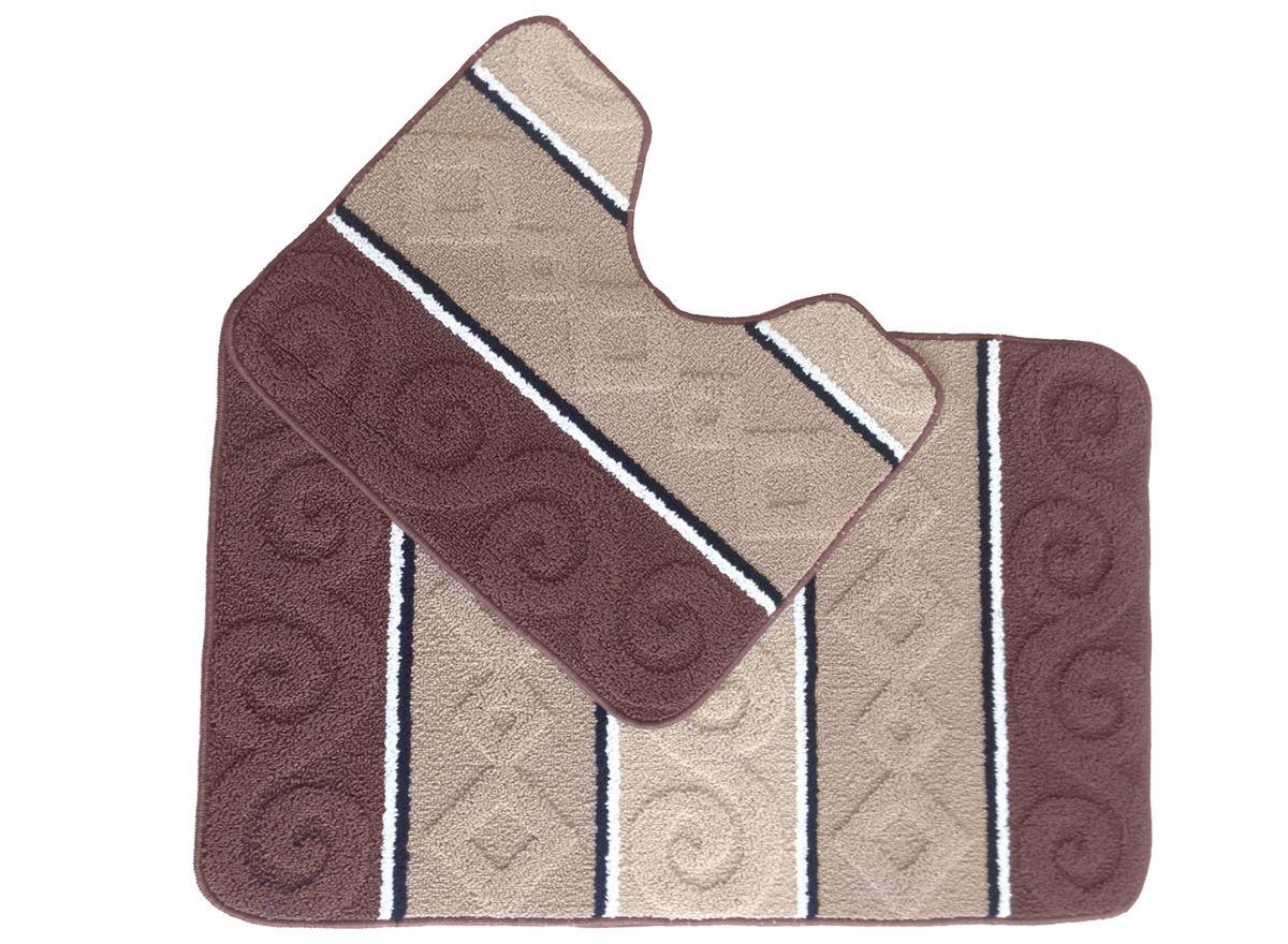 Набор ковриков для ванной комнаты Kamalak Tekstil, цвет: коричневый, 2 шт. УКВ-1032УКВ-1032Ковры-паласы выполнены из полипропилена. Ковры обладают хорошими показателями теплостойкости и шумоизоляции. Являются гиппоалергенными. За счет невысокого ворса ковры легко чистить. Вам придется по душе широкая гамма цветов и возможность гармонично оформить интерьер. Практичный и устойчивый к износу ворс - от постоянного хождения не истирается, не накапливает статическое электричество. Структура волокна в полипропиленовых моделях гладкая, поэтому грязь не может выесться, на ворсе она скапливается с трудом. Полипропилен не впитывает влагу, отталкивает водянистые пятна. Уход: Самый простой способ избавить изделие от грязи – пропылесосить его с обеих сторон (лицевой и изнаночной).Влажная уборка с применением шампуней и моющих средств не противопоказана. Если шерсти и шёлку универсальные чистящие составы не подходят, то для синтетики они придутся в самый раз.Хранить их нужно рулоном, не складывая «салфеткой».При надлежащем уходе синтетический ковёр прослужит долго, не утратив ни яркости узора, ни блеска ворса, ни его упругости.