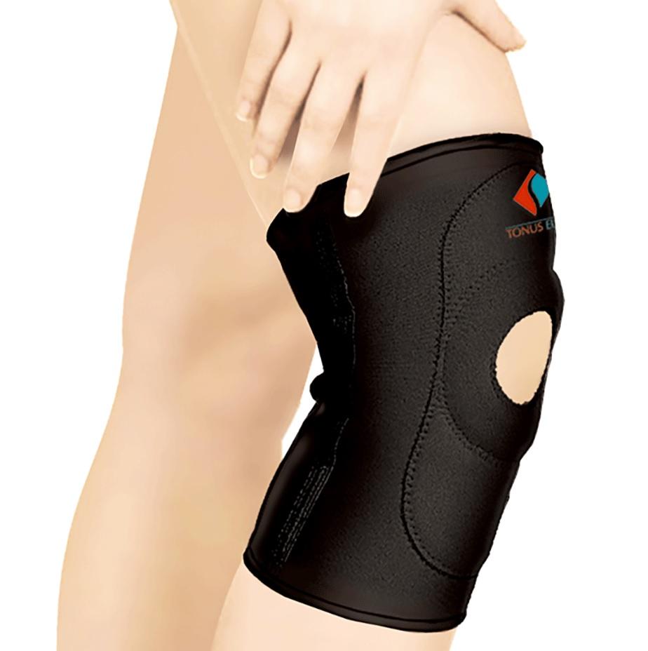 Повязка Tonus Elast для фиксации коленного сустава c открытой чашечкой. 9903. Размер 19903/1Повязка эластичная из неопрена для фиксации коленного сустава, с открытой чашечкой. Предназначена для использования в качестве лечебно-профилактического средства для фиксации, защиты и поддержания в состоянии покоя связочного (костного) аппарата и мягких тканей сустава.