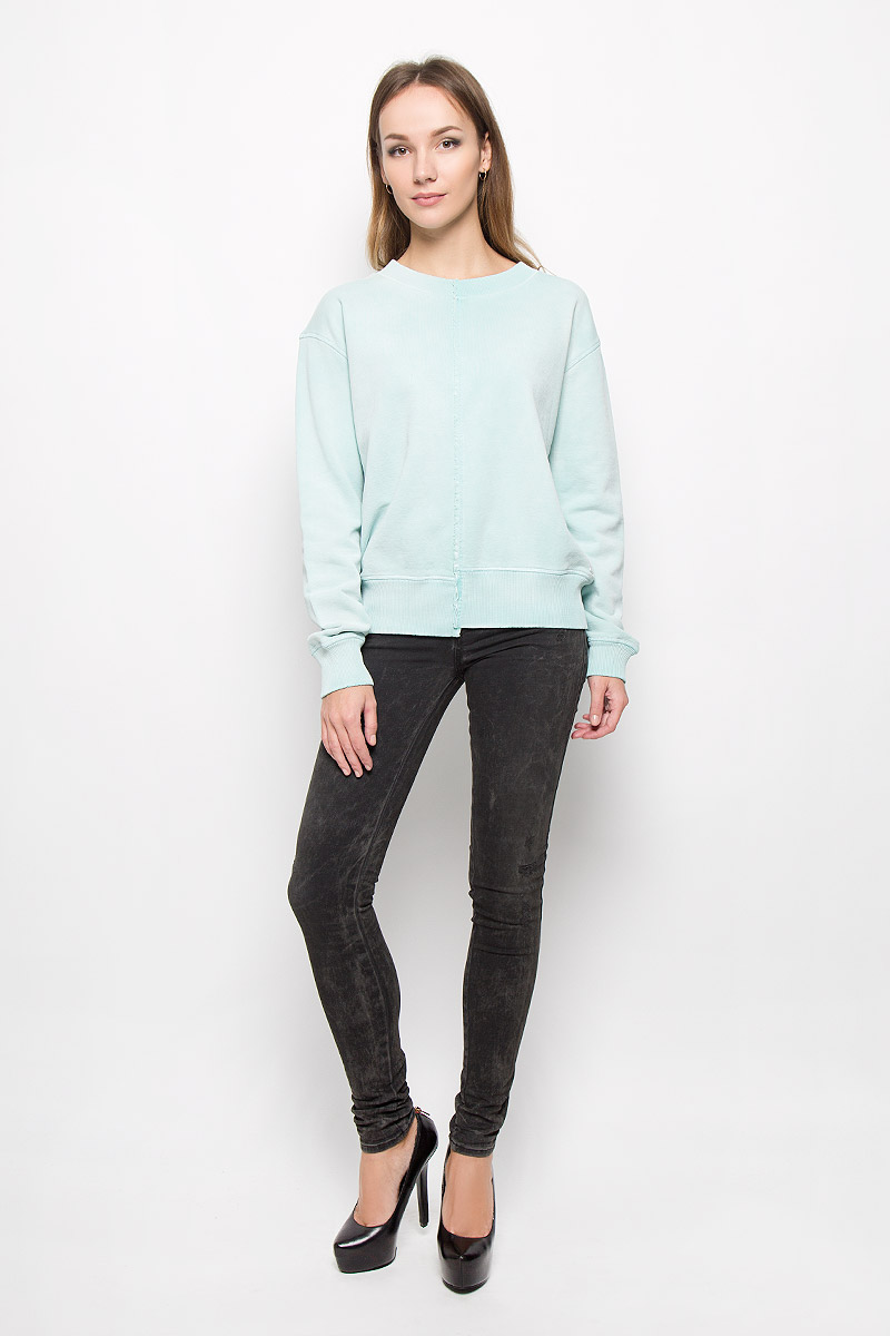 Свитшот женский Diesel, цвет: светло-бирюзовый. 00SSAM-0GAMU. Размер XL (50) брюки для дома мужские diesel цвет синий 00sj3i 0damk 05 размер xl 50