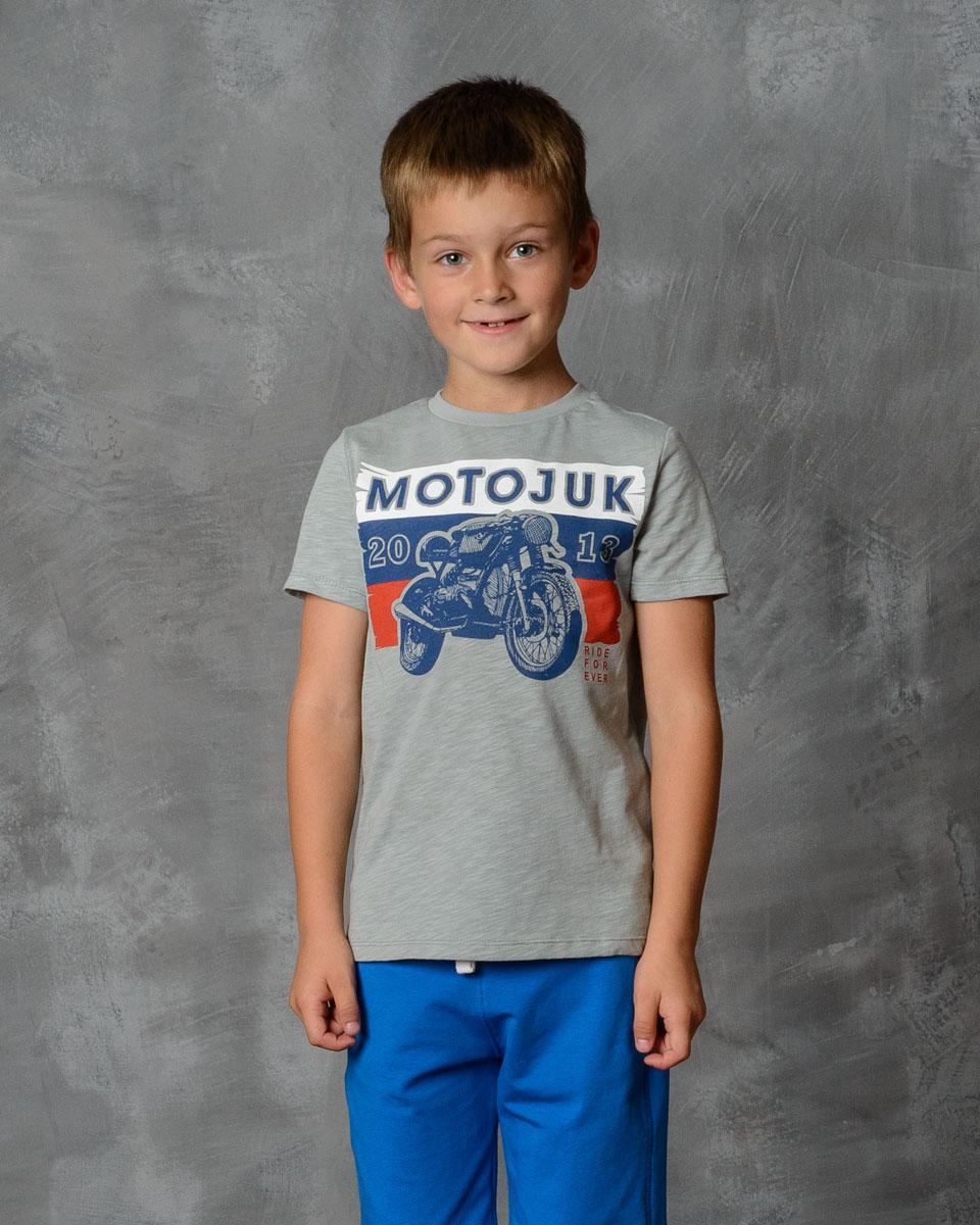 Футболка для мальчика Modniy Juk, цвет: серый. 01В00120100_MOTOJUK. Размер 134 лонгслив для мальчика modniy juk цвет хаки белый 02в00020100 размер 128 134