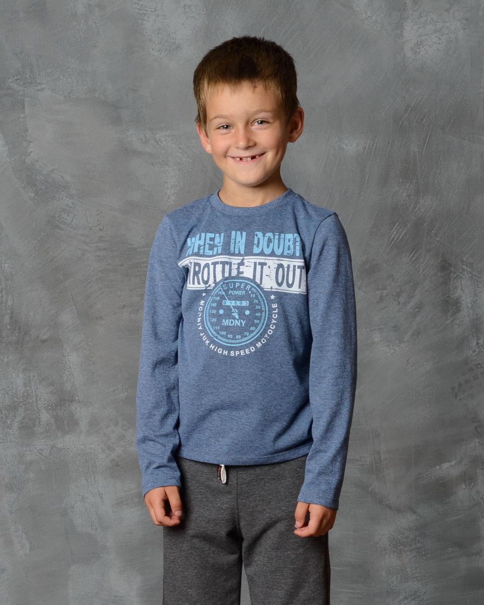 Футболка с длинным рукавом для мальчика Modniy Juk, цвет: джинс меланж. 02В00010100. Размер 128 лонгслив для мальчика modniy juk цвет хаки белый 02в00020100 размер 128 134