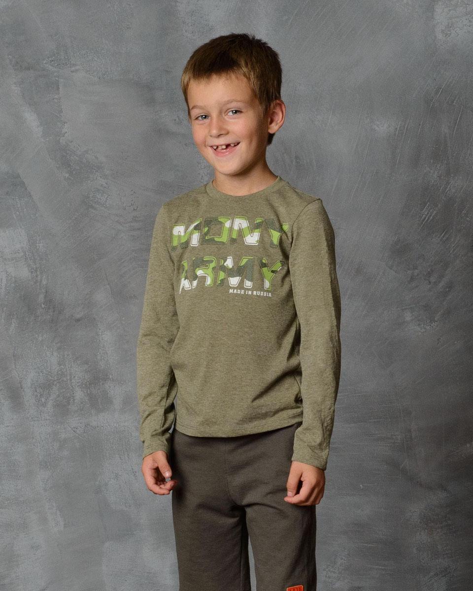 Футболка с длинным рукавом для мальчика Modniy Juk, цвет: хаки. 02В00010100. Размер 146 лонгслив для мальчика modniy juk цвет хаки белый 02в00020100 размер 128 134