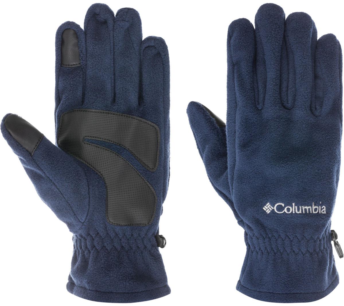Перчатки мужские Columbia Thermarator Glove, цвет: синий. 1555851-464. Размер S (6/7)1555851-464Флисовые перчатки идеально подойдут для активного отдыха в холодное время года. Уникальная технология Omni-Heat сохраняет собственное тепло человека, отражая его с помощью серебристых точек, а излишняя влага отводится наружу. Текстурированное укрепление ладони и пальцев в местах наибольшего трения защищают перчатки от истирания.