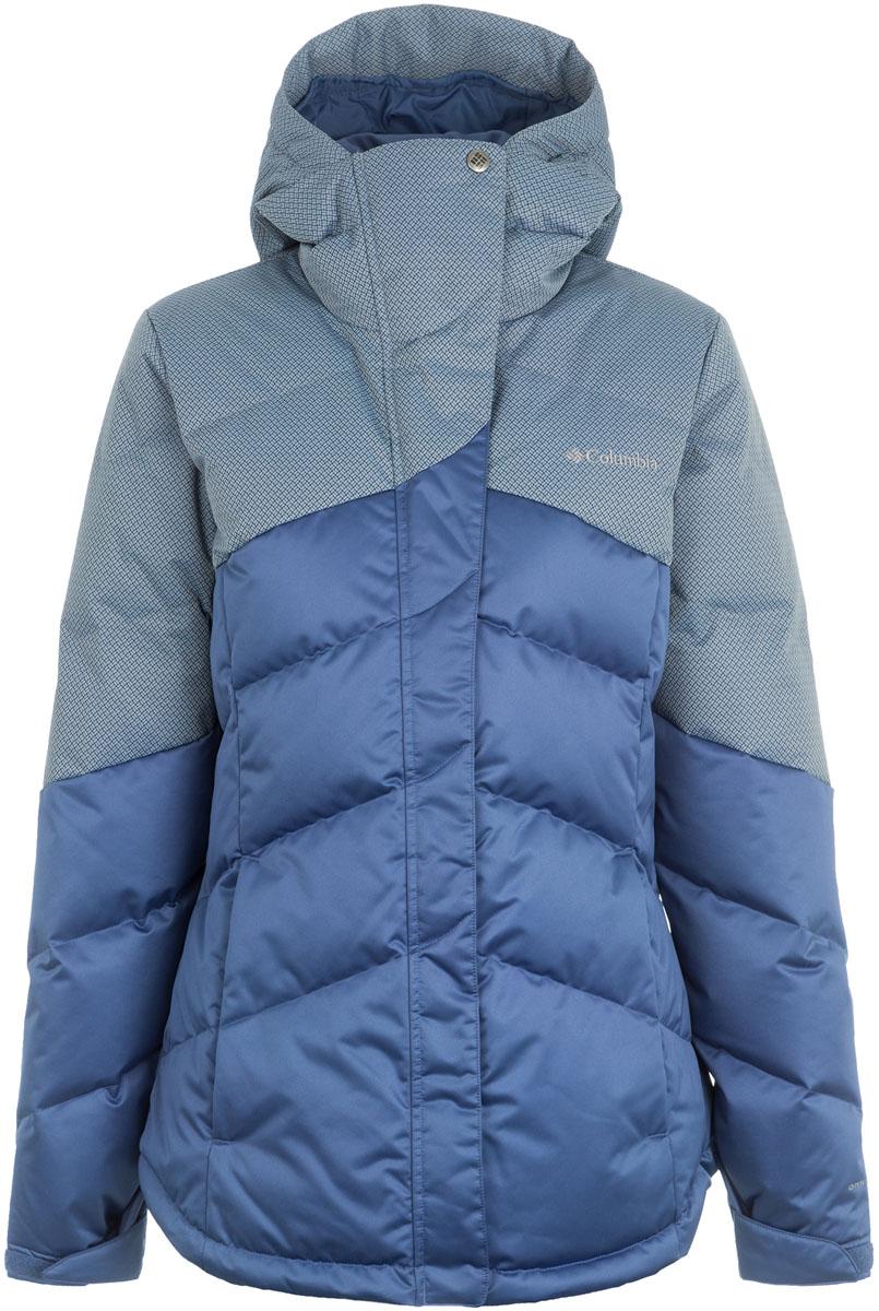 Пуховик женский Columbia Powder Summit II Down Jacket, цвет: синий. 1558081-508. Размер L (48)1558081-508Теплый и изящный женский пуховик прекрасно подойдет для повседневной носки в холодное время года. Технология Omni-Heat обеспечивает уникальную температурную регуляцию тела, излишнее тепло и влага отводятся наружу, не вызывая перегревания. Не отстегивающийся регулируемый капюшон, регулируемые манжеты, боковые карманы на молнии делают куртку более комфортной в использовании. Внешняя сторона пуховика дополнена двумя карманами. На груди расположен вышитый логотип бренда.