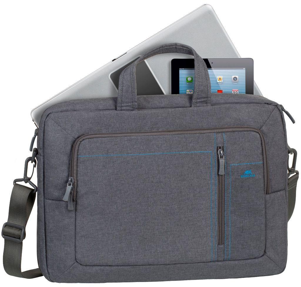 Riva 7590, Grey сумка-трансформер для ноутбука 166642Сумка-трансформер Riva 7590 из высококачественной, водоотталкивающей ткани. Трансформер можно носить в руках или на плече, а за счет убирающихся ручек и вынимающихся наплечных ремней он легко превращается в рюкзак.Основное отделение для ноутбука имеет мягкие стенки и ремень для надежной фиксации ноутбука до 16. Также есть дополнительное отделение для планшета, аксессуаров, документов, смартфона. Внешний передний карман на молнии оборудован панелью-органайзером для хранения визитных карт, авторучек, смартфона, аксессуаров. Имеются вынимающиеся и регулируемые по длине наплечные ремни со смягчающими подкладками. Удобные ручки и регулируемый по длине плечевой ремень позволяют чувствовать себя комфортно.