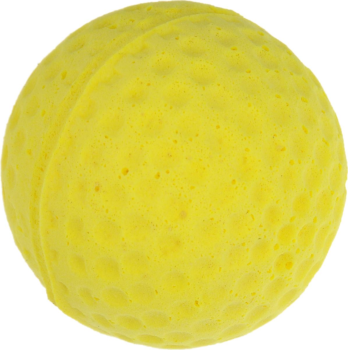 Игрушка для животных Каскад Мячик зефирный. Гольф, цвет: желтый, диаметр 4 см куплю документы на гольф 4